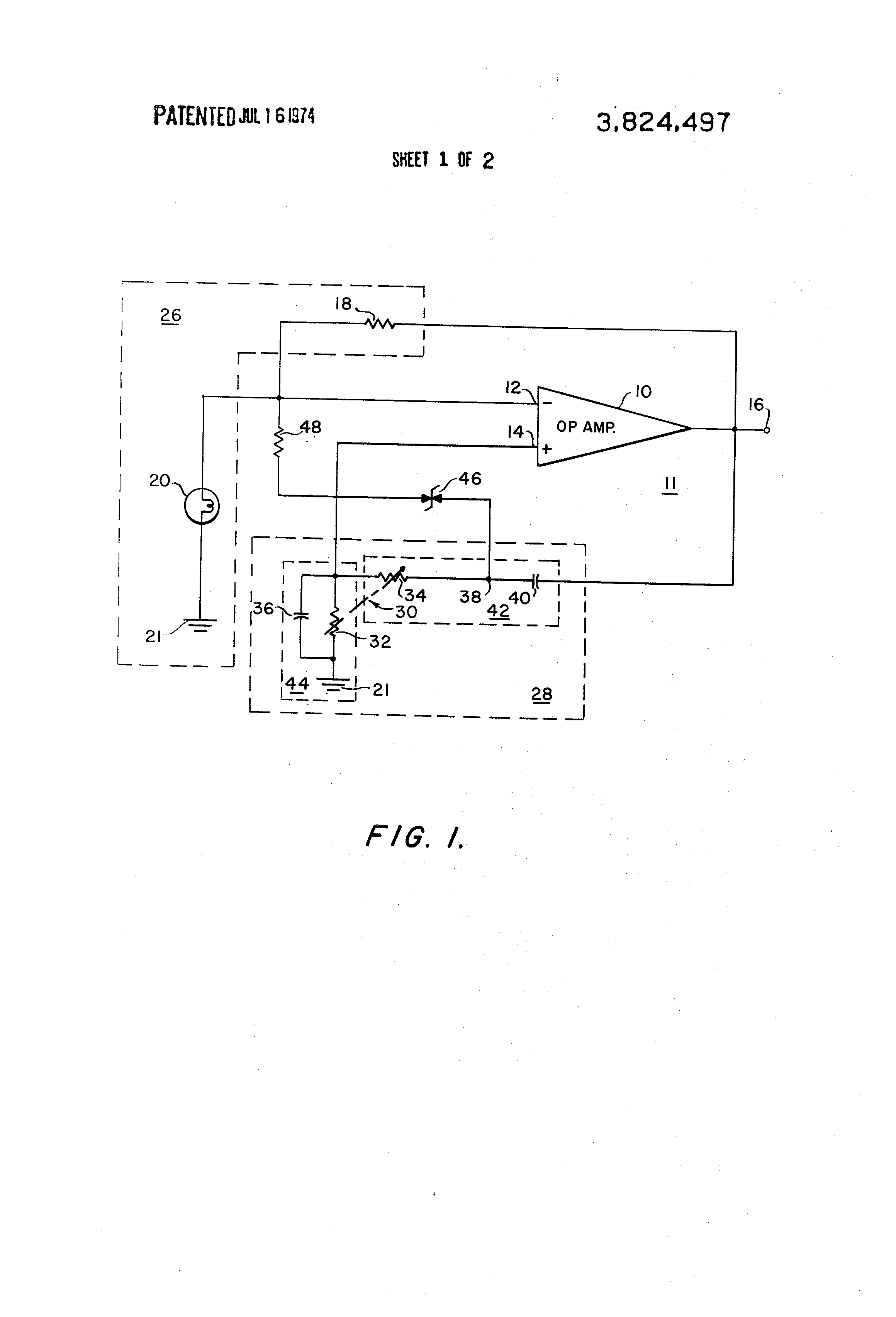 Us3824497 High Purity Frequency Stable Adjustable Rc Bridge And Oscillator Circuit Oscillatorcircuit Patent Drawing