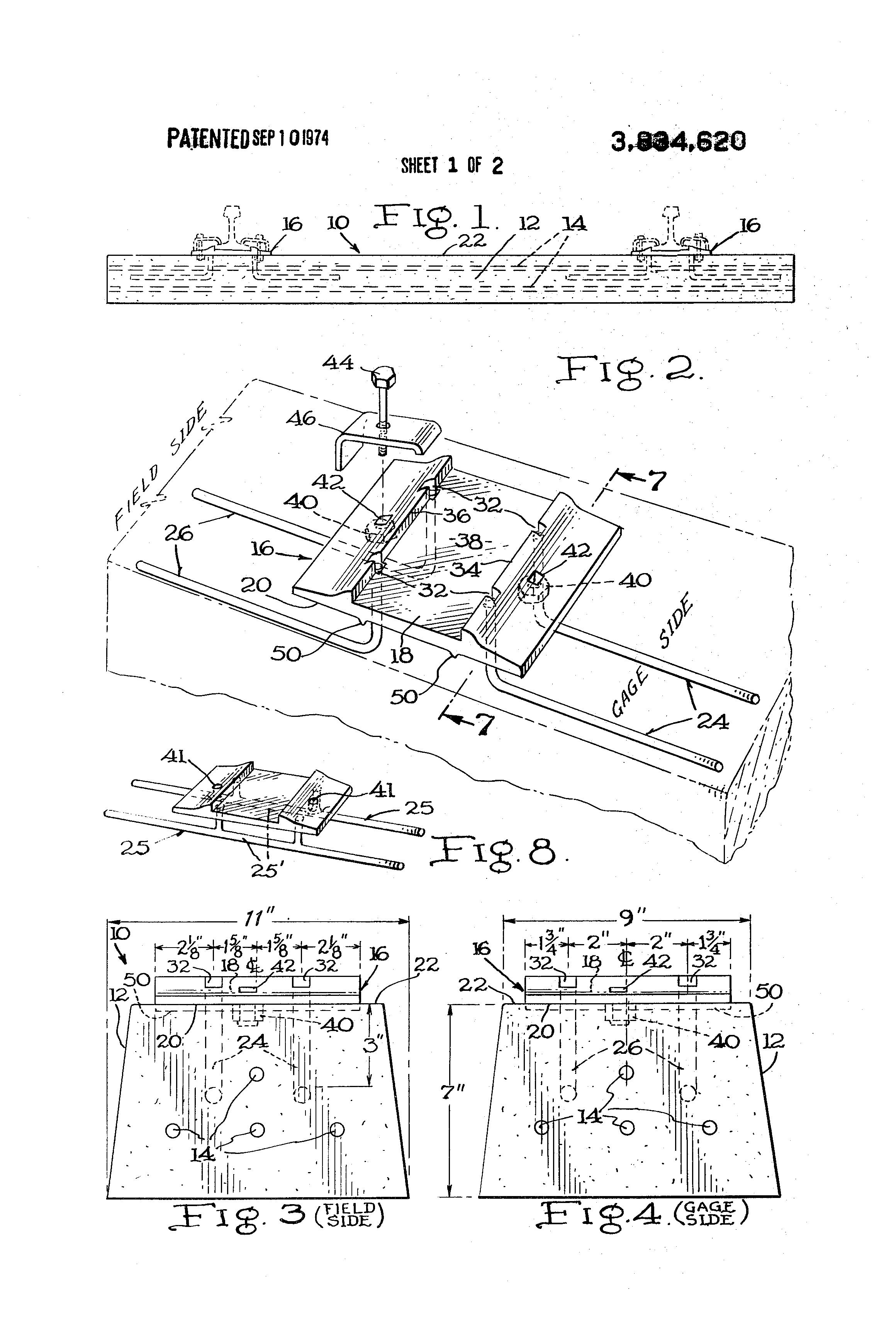 patent us3834620 precast railroad tie and tie plate