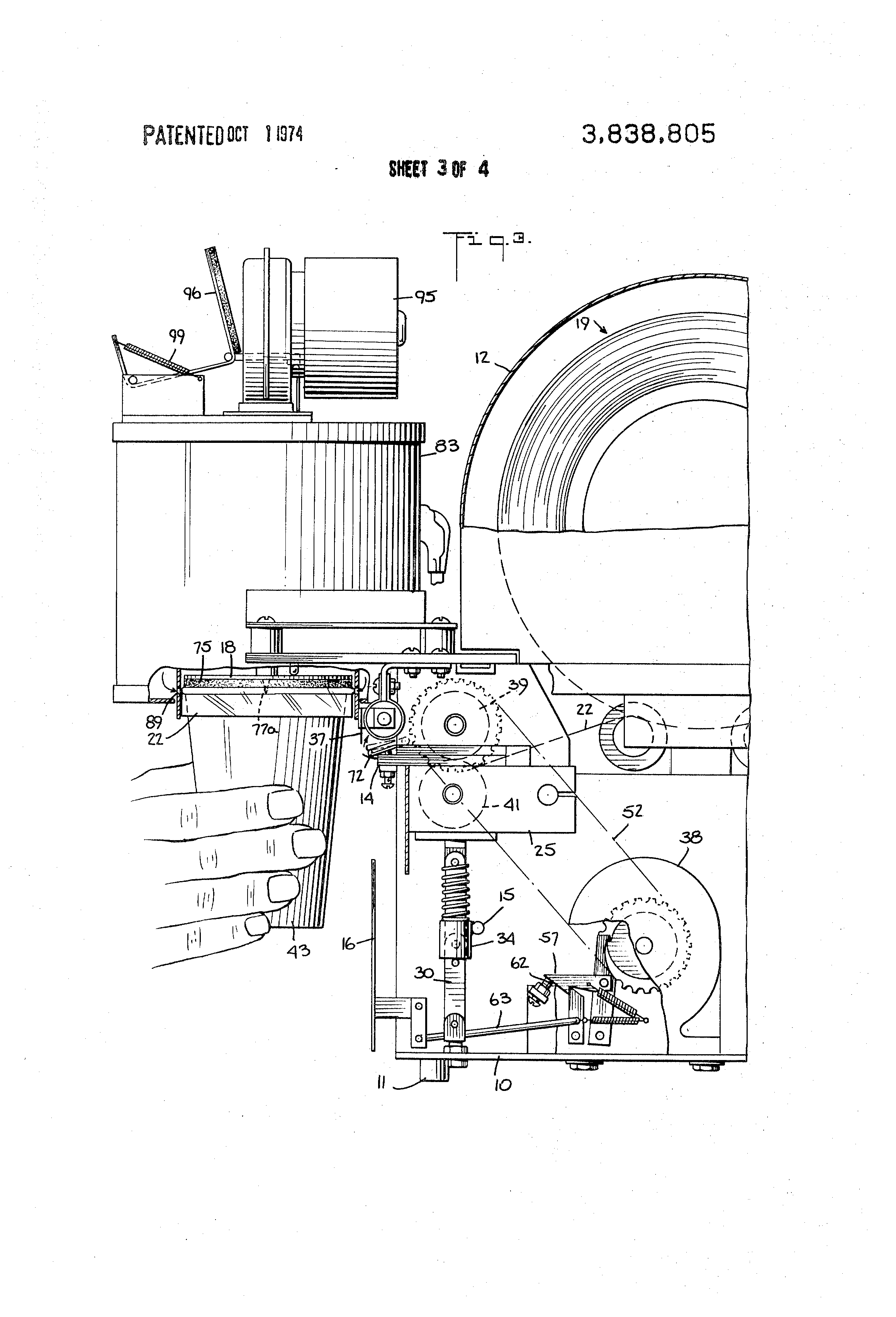 patent us3838805 - shrink-film capping machine
