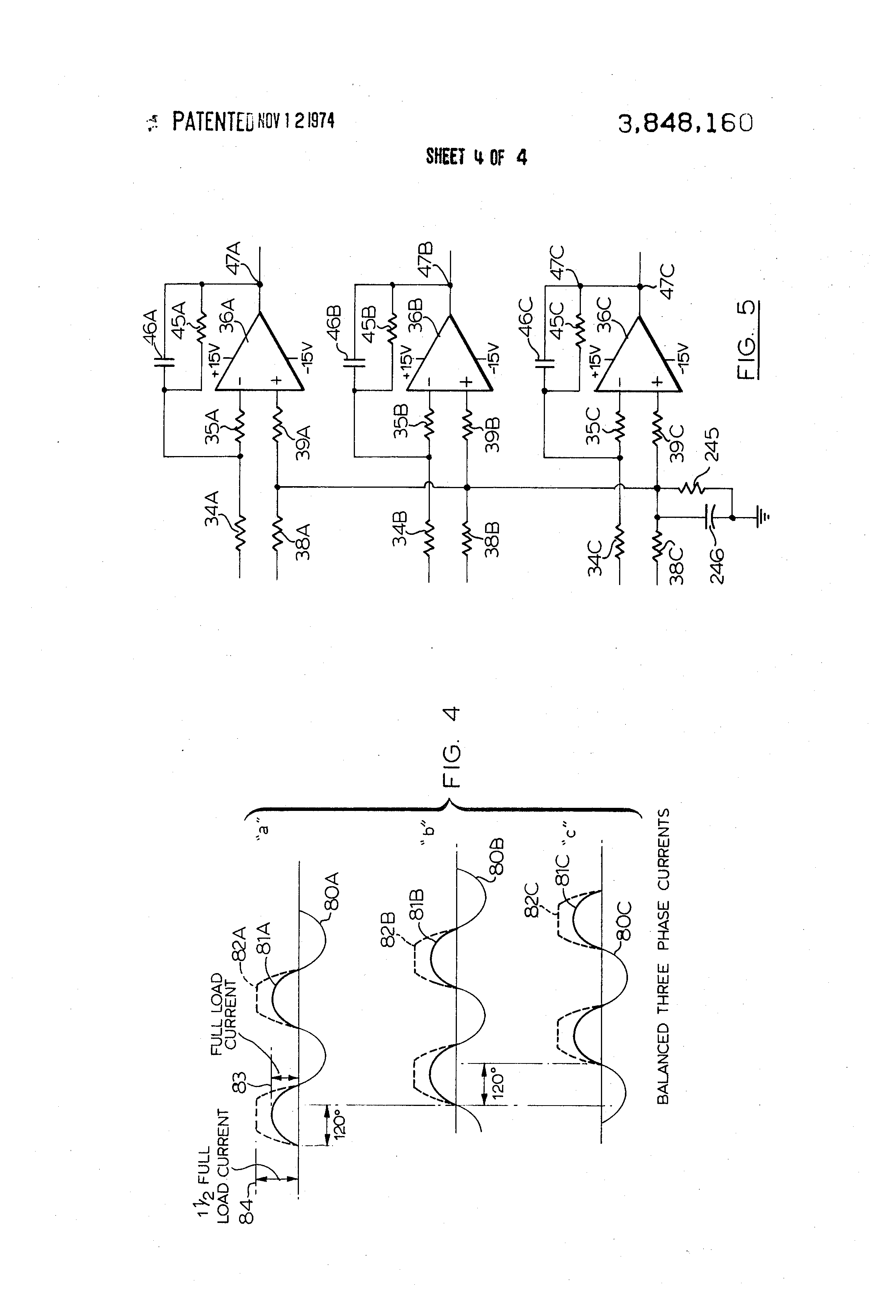 Brevet Us3848160 Circuit For Detecting Phase Unbalance In A Three Power Inverter Diagram Besides 3 Motor Patent Drawing