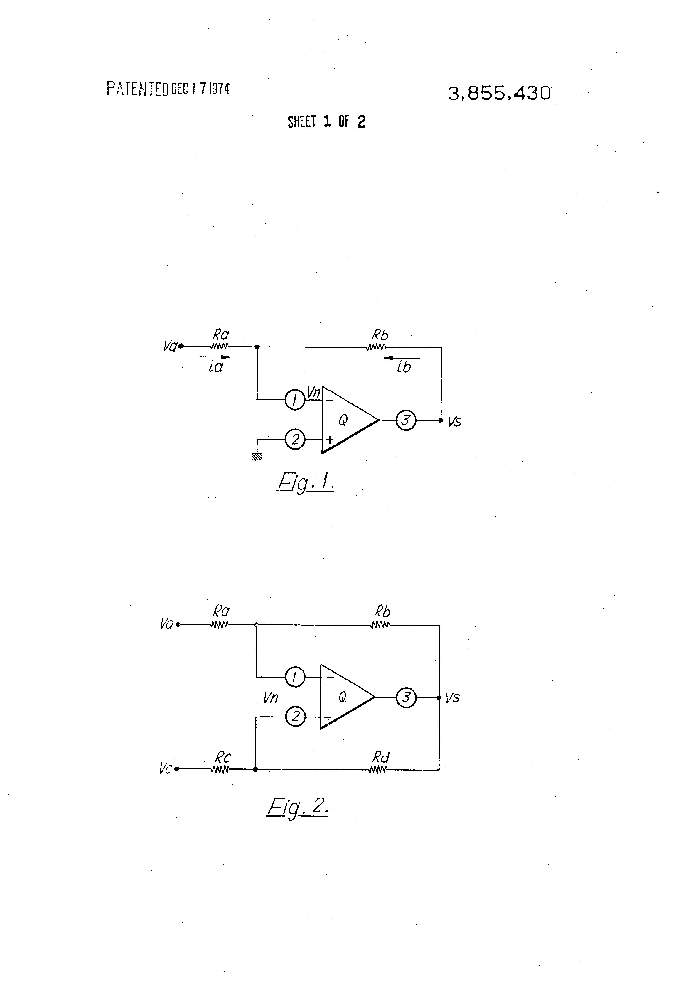 Patent Us3855430 Electronic Hybrid Circuit For Two Wire To Four Input Signal Amplifier Amplifiercircuit Drawing