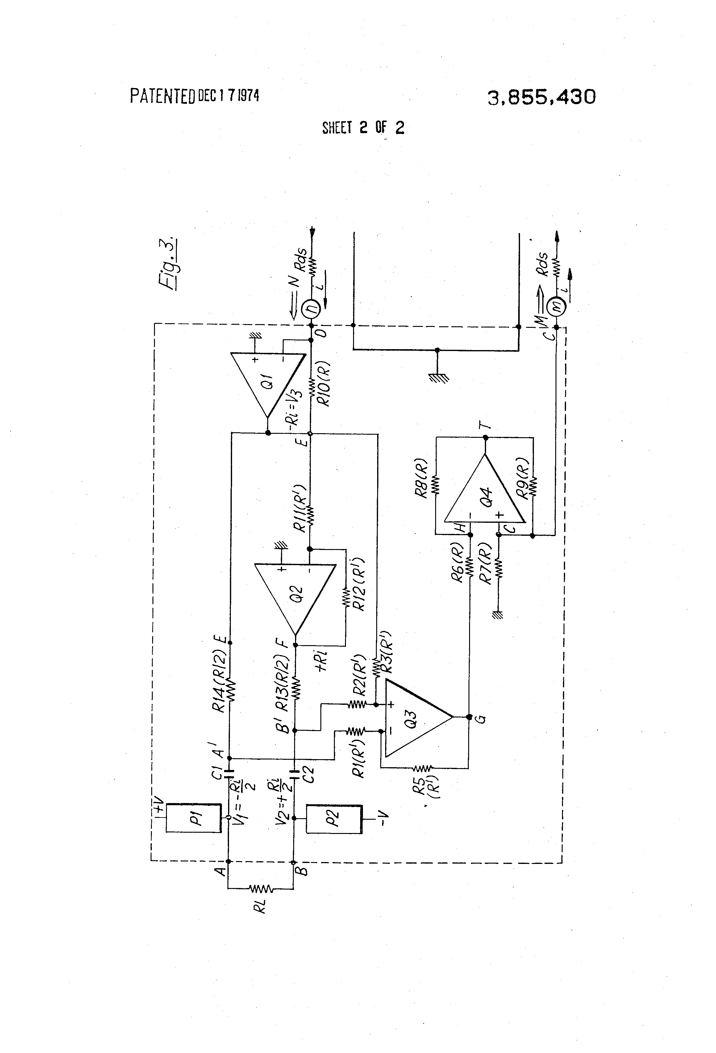 Patent Us3855430 Electronic Hybrid Circuit For Two Wire To Four Impedance Bridge Amplifier Amplifiercircuit Drawing