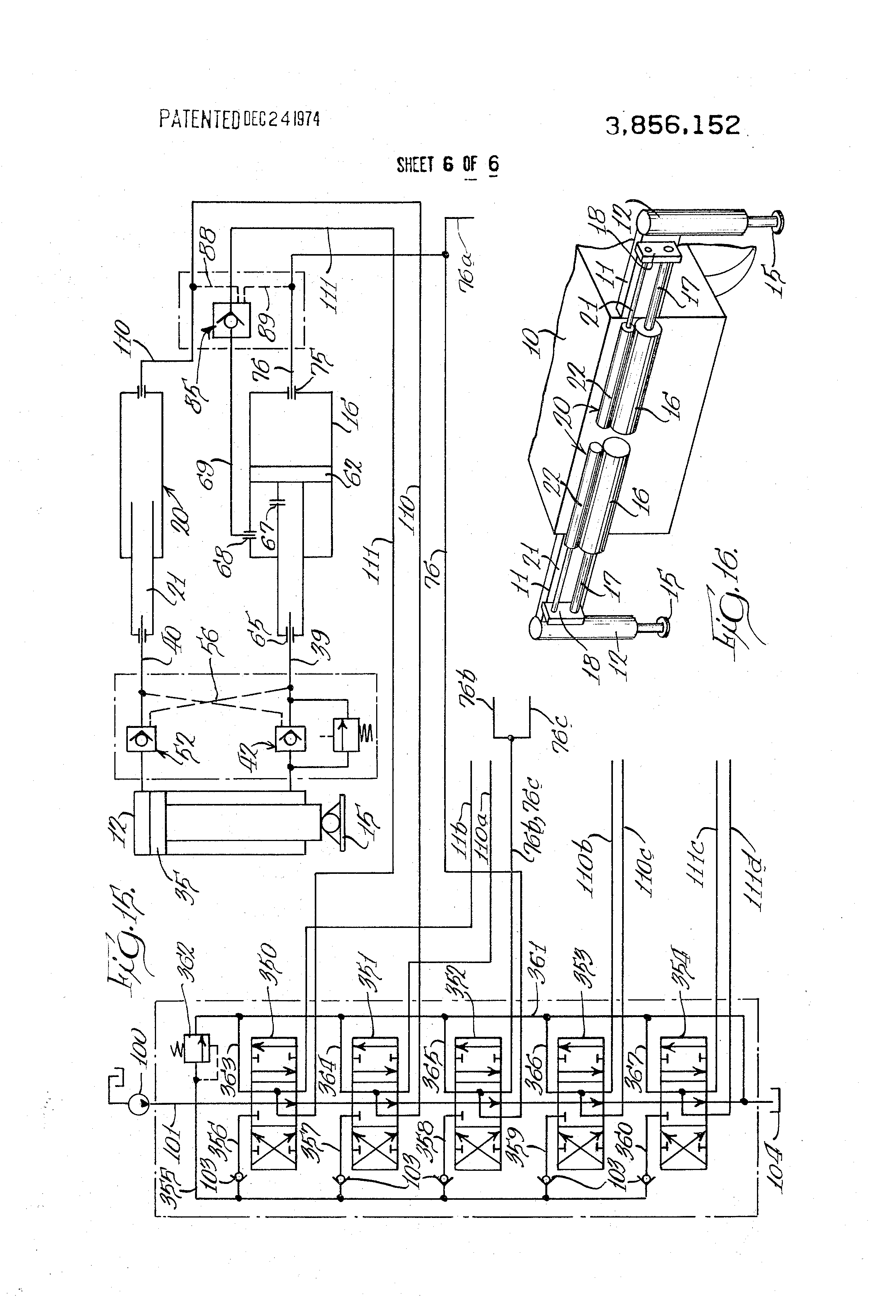 patent us3856152 - outrigger hydraulic system