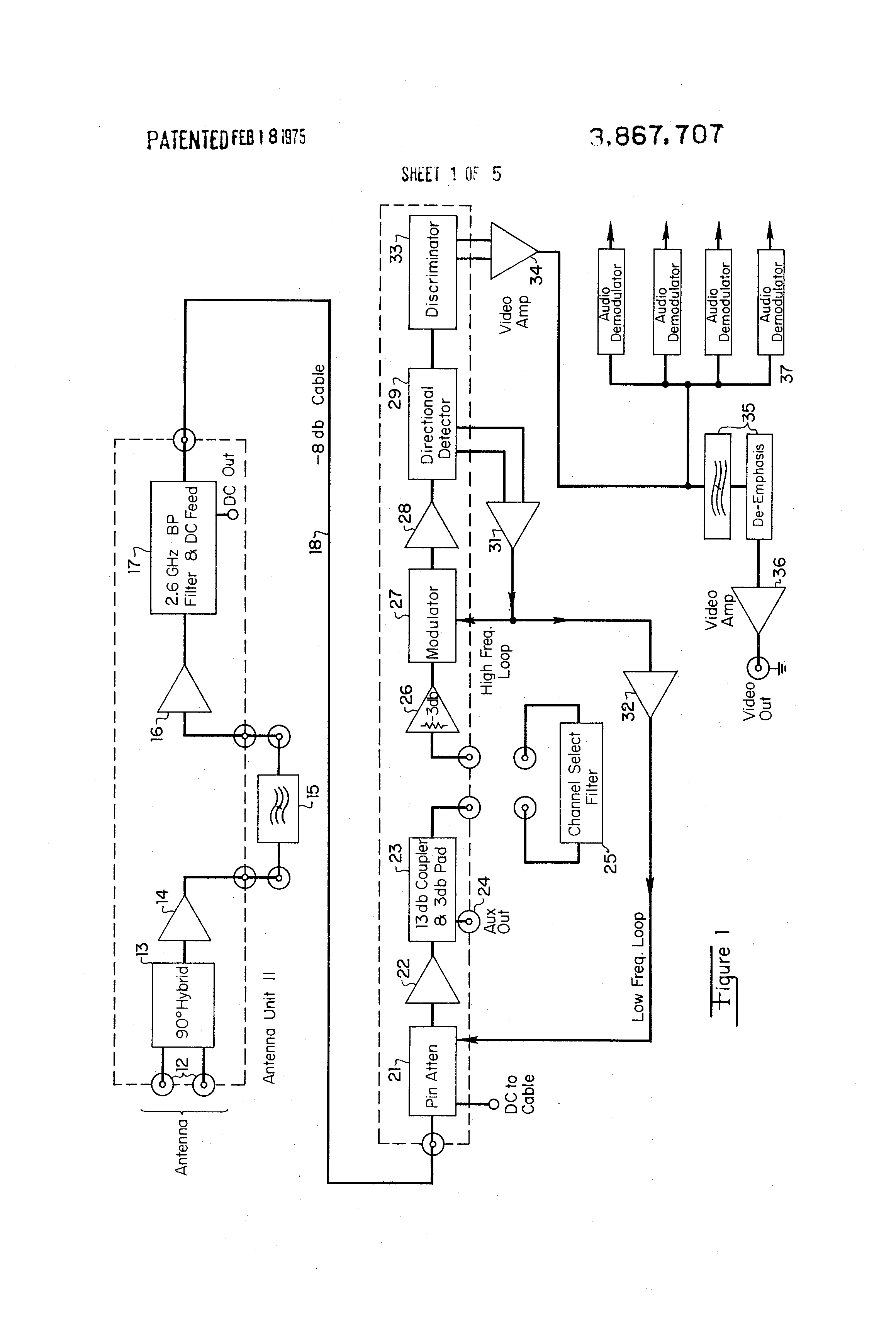 patent us3867707 - controlled signal receiver
