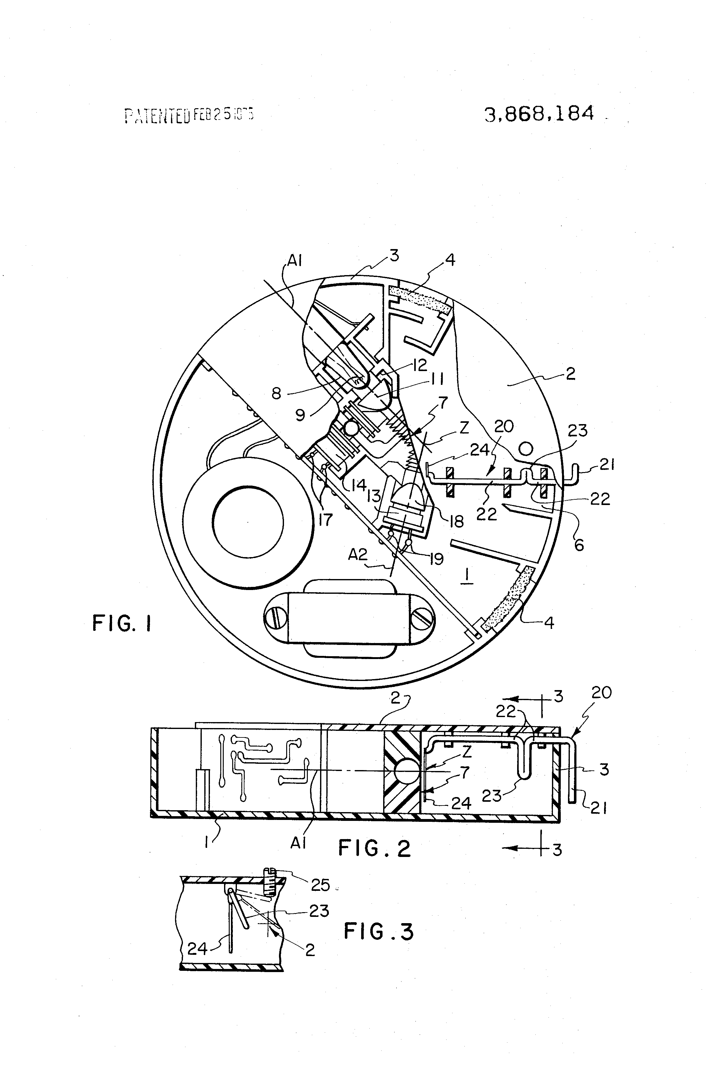 patent us3868184 - optical smoke detector with light scattering test device