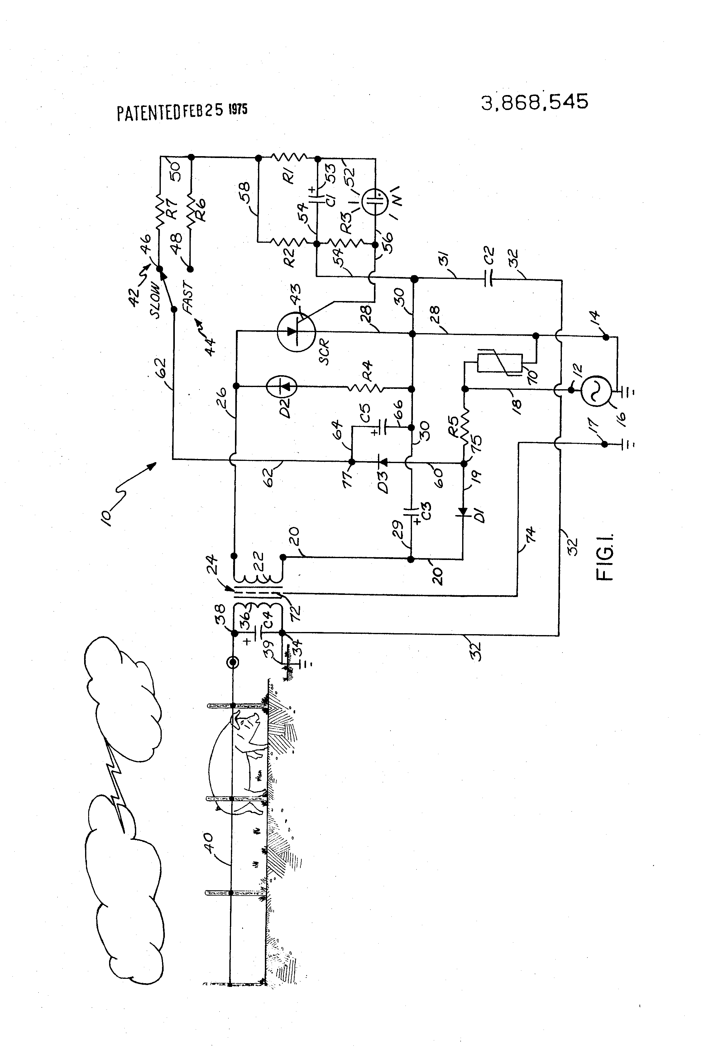 brevet us3868545 variable frequency electric fence charging Best Electric Fence for Horses patent drawing