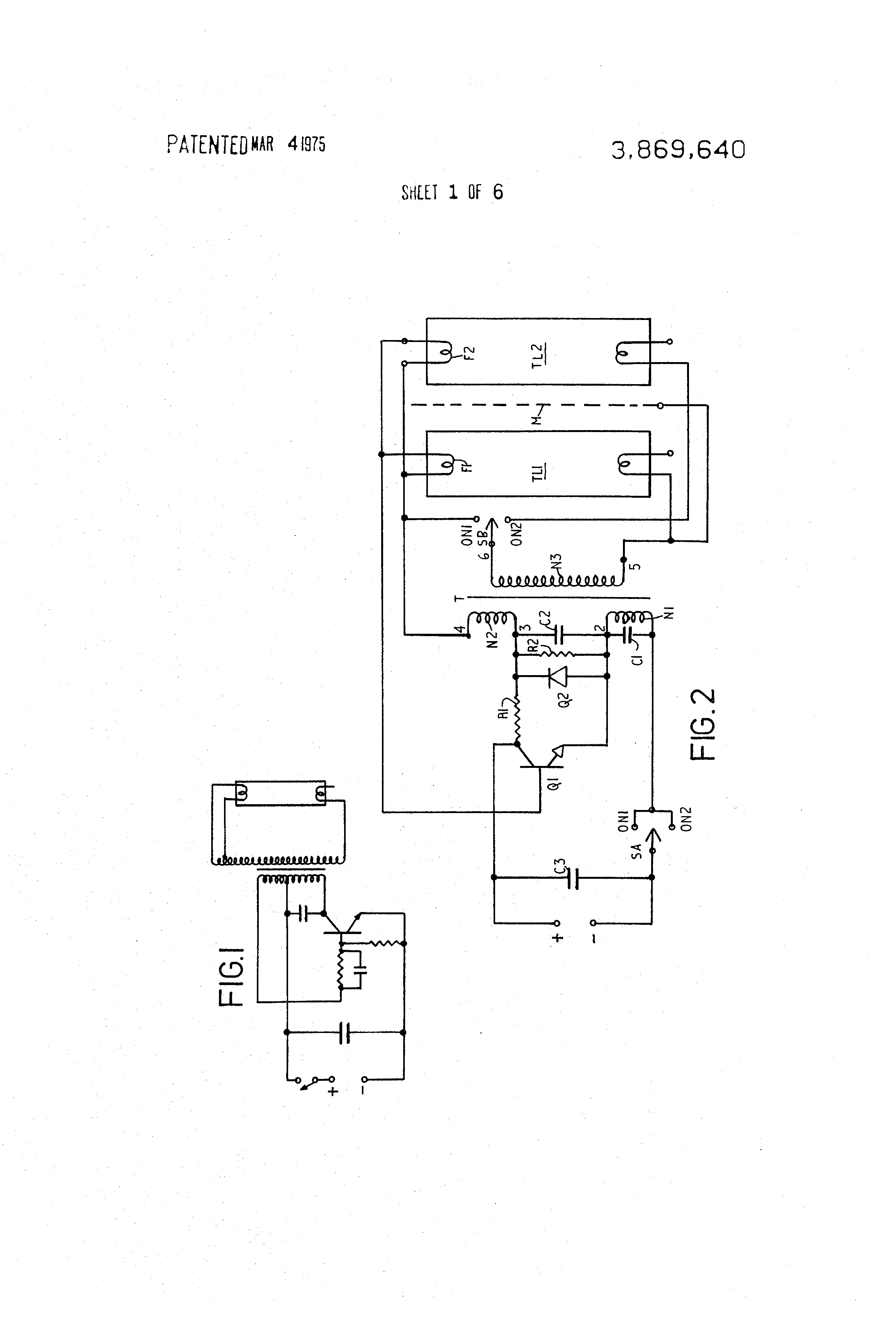 Patent Us3869640 Power Supply Arrangement For Fluorescent Tubes Regulated Schematic On Dc Tube Filament Drawing
