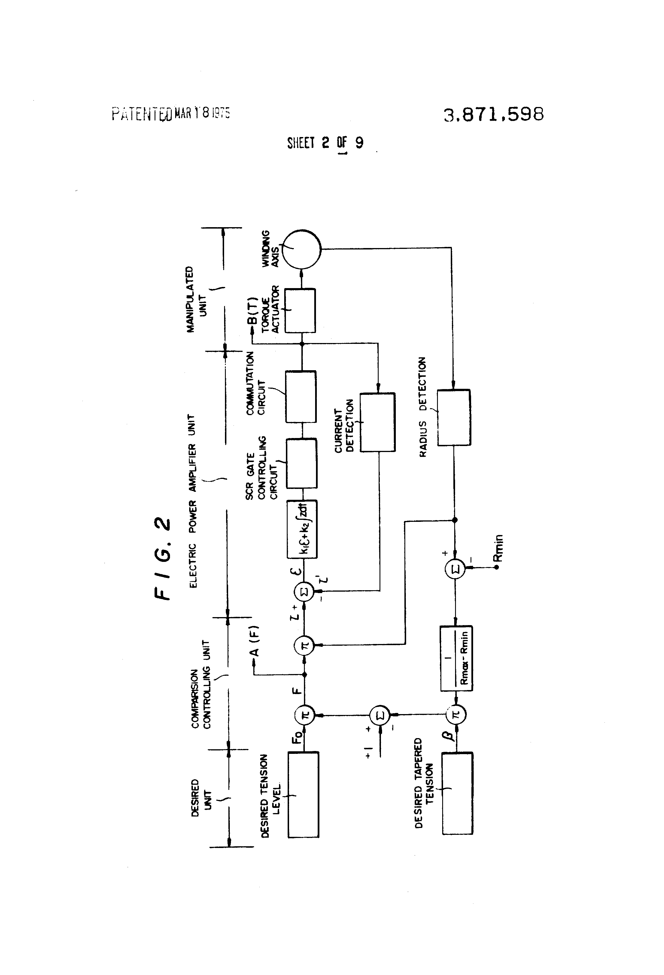 patent us3871598 - winding tension control system