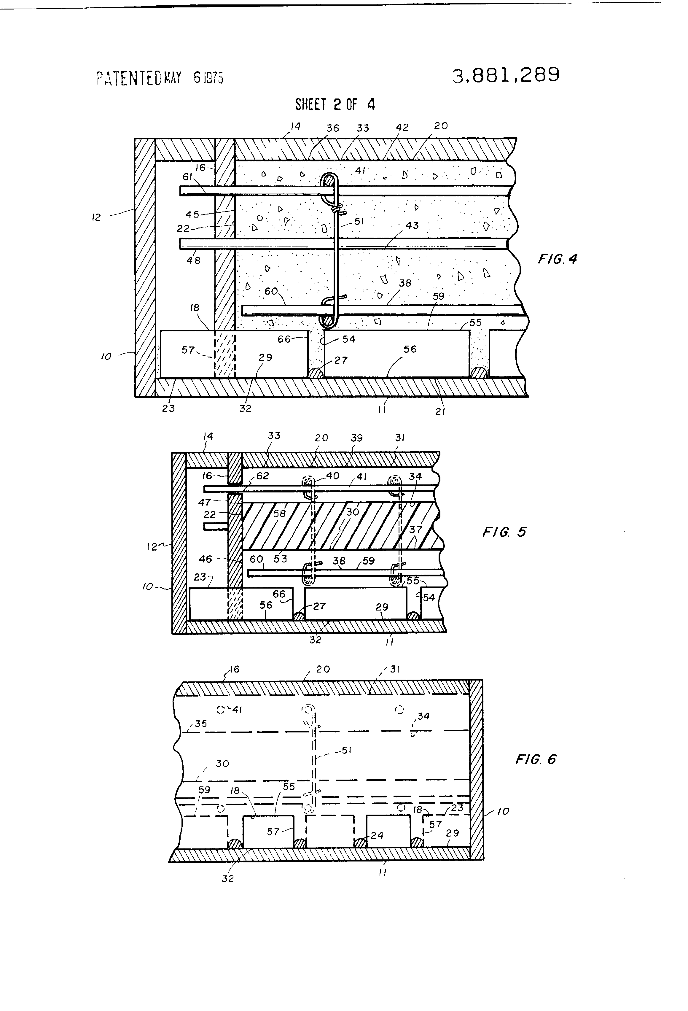 Patent US3881289 Building walls and prefabricated