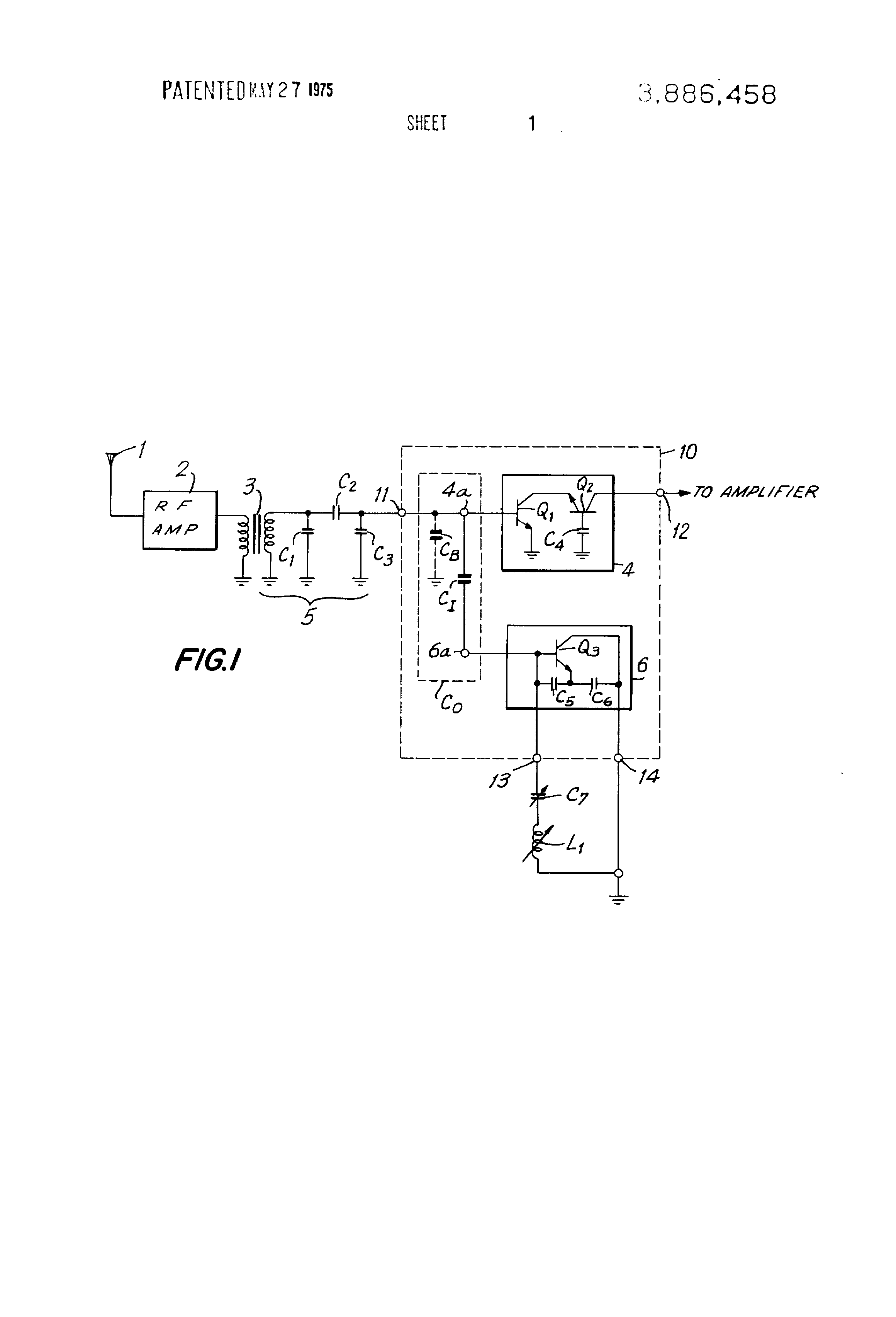 Patent Us3886458 Frequency Converter Circuit With Integrated Is Placed In The Base To Ground Oscillator Drawing