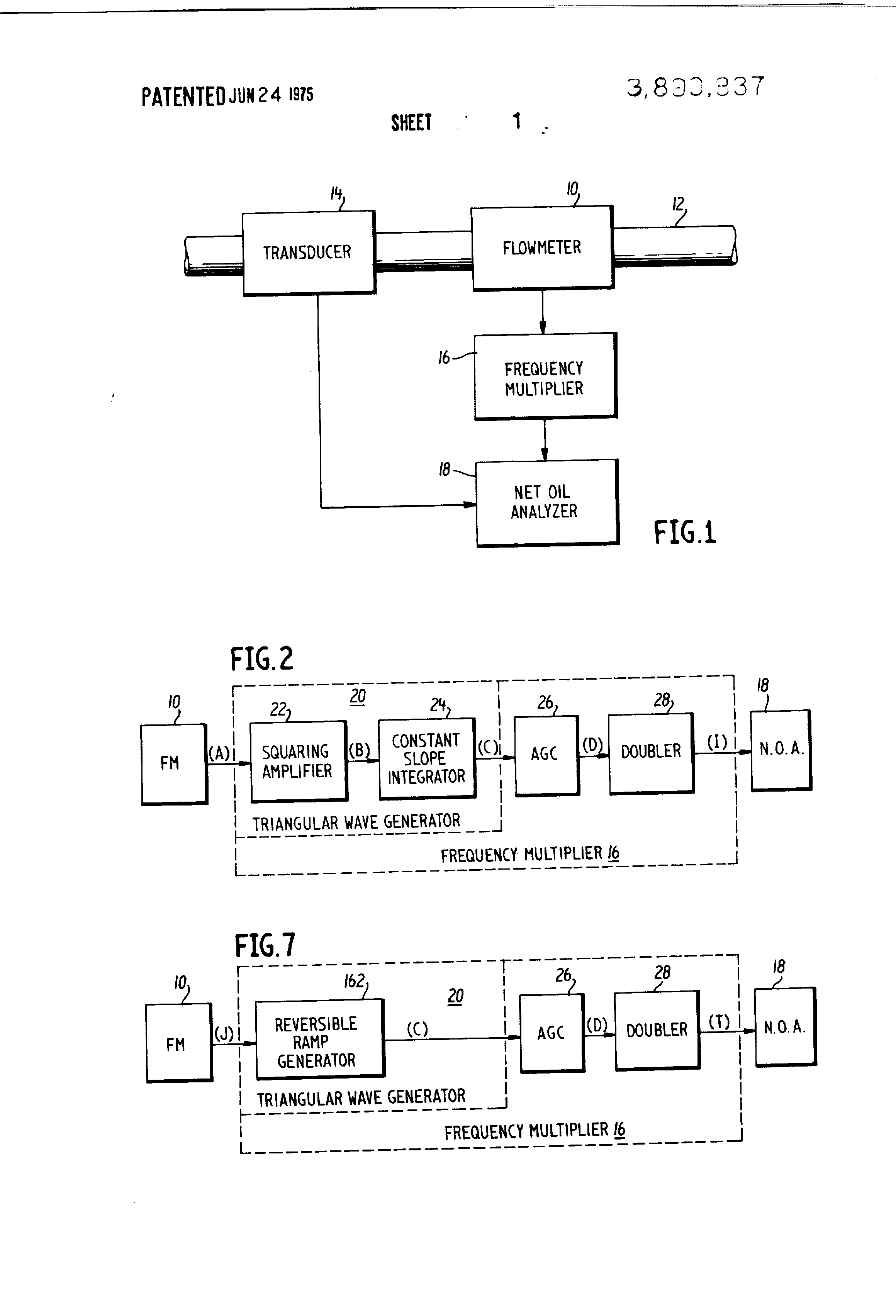 Patent Us3890837 Electronic Signal Multiplier For Flowmeters Triangular Wave Generator Circuit Drawing