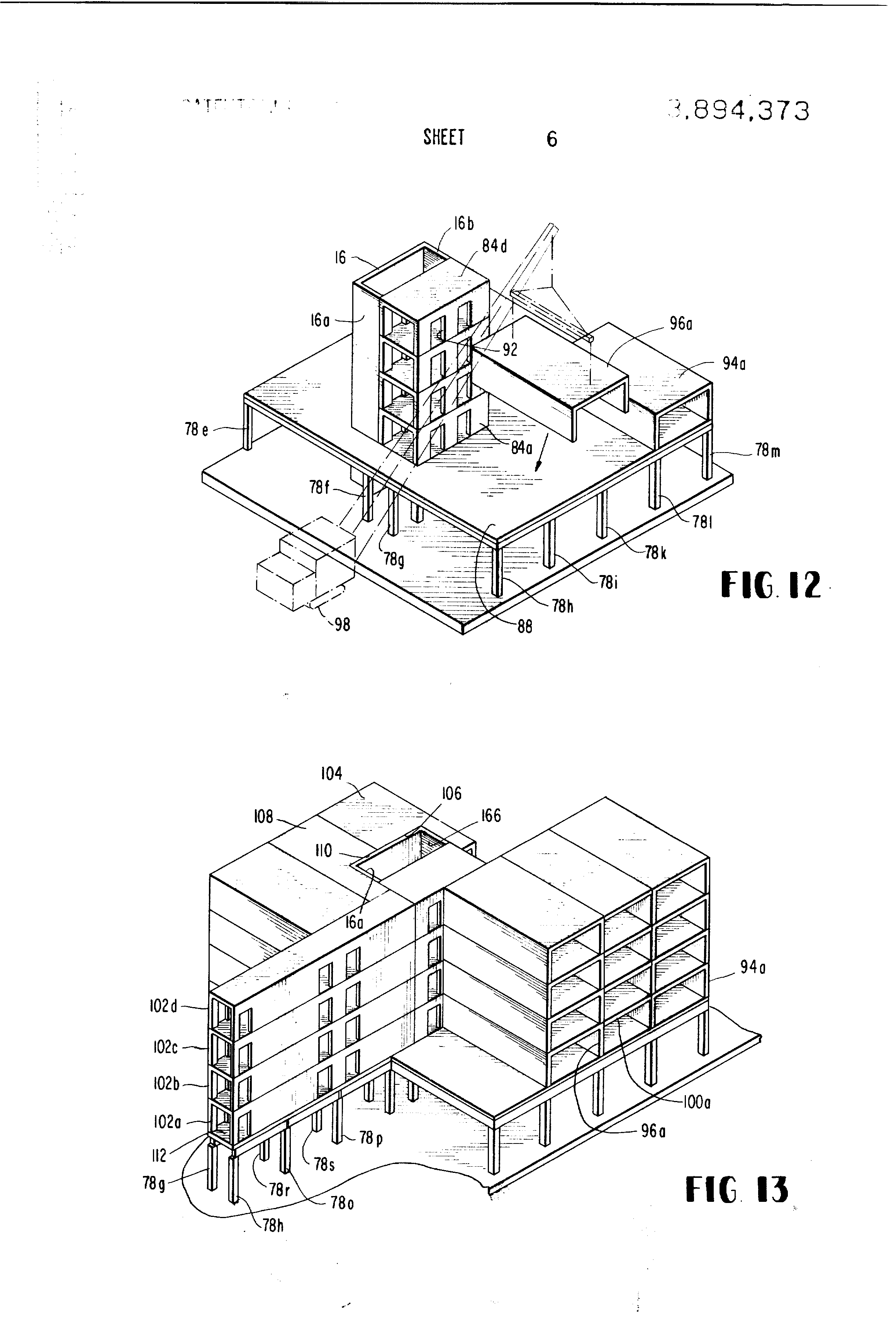 Patent Us3894373 Industrialized Building Construction Google Patents Diagram Of A Network Architecture In Multistory Drawing