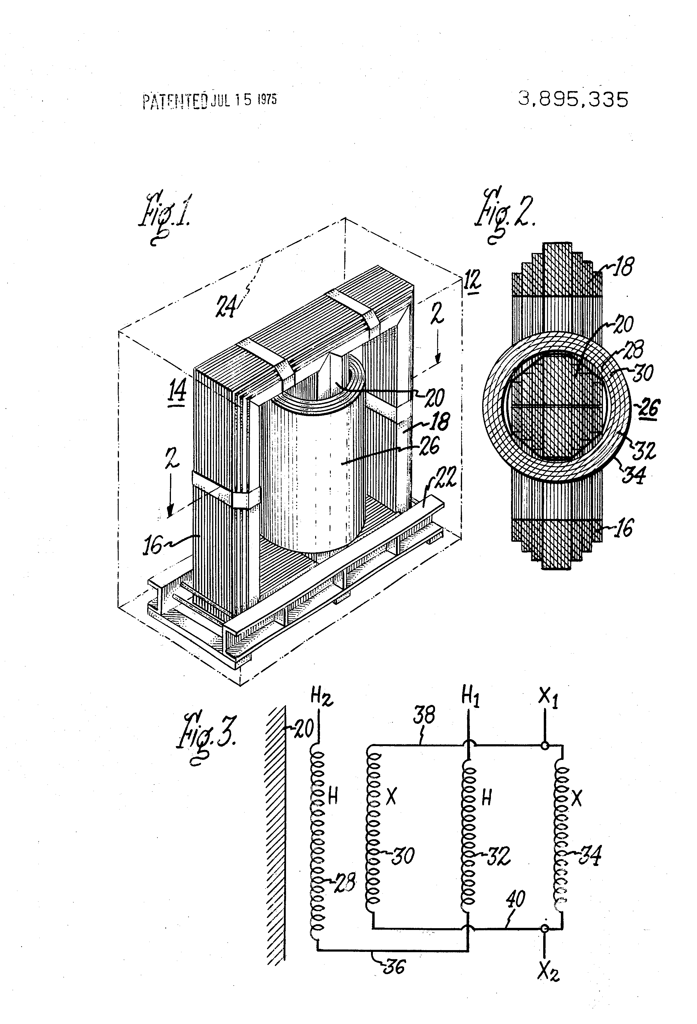 patent us3895335 - series  parallel connected single phase power transformer