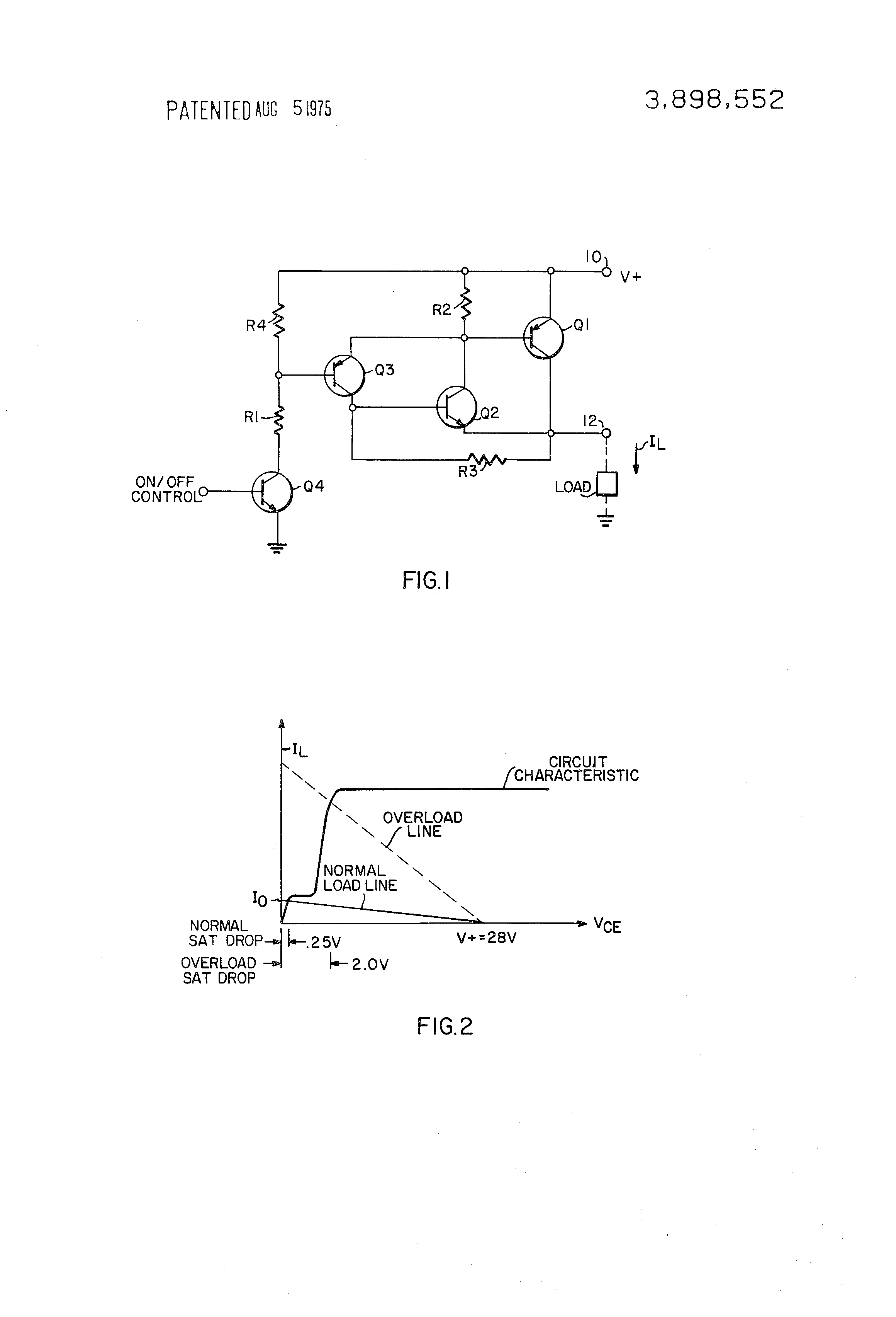 Brevet Us3898552 Dc Static Switch Circuit With Improved Transistor The Polarity Control Relay Is Switched Off When Q1 Covered By Patent Drawing