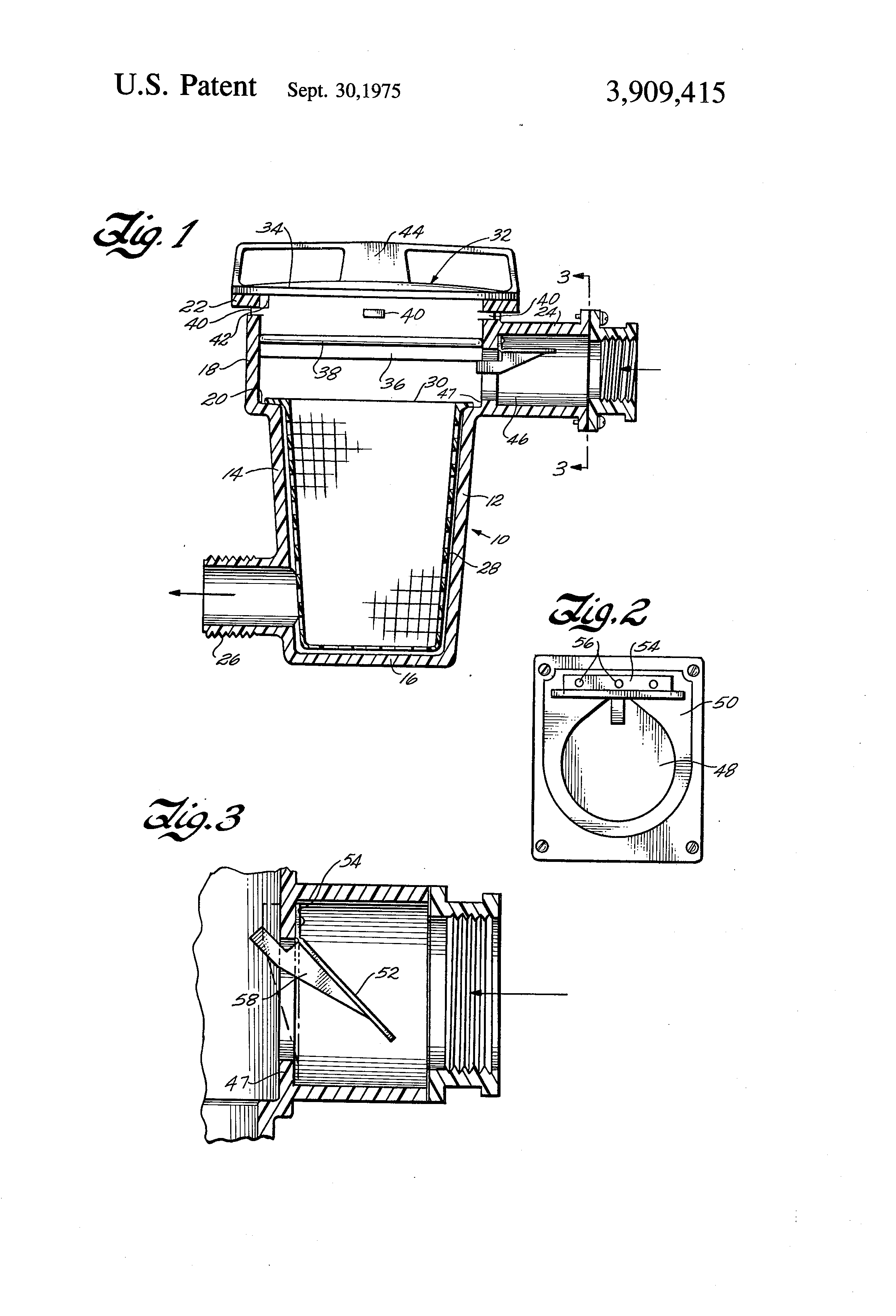 Patent Us3909415 Anti Siphon Valve For Swimming Pool Lint Pot Google Patents