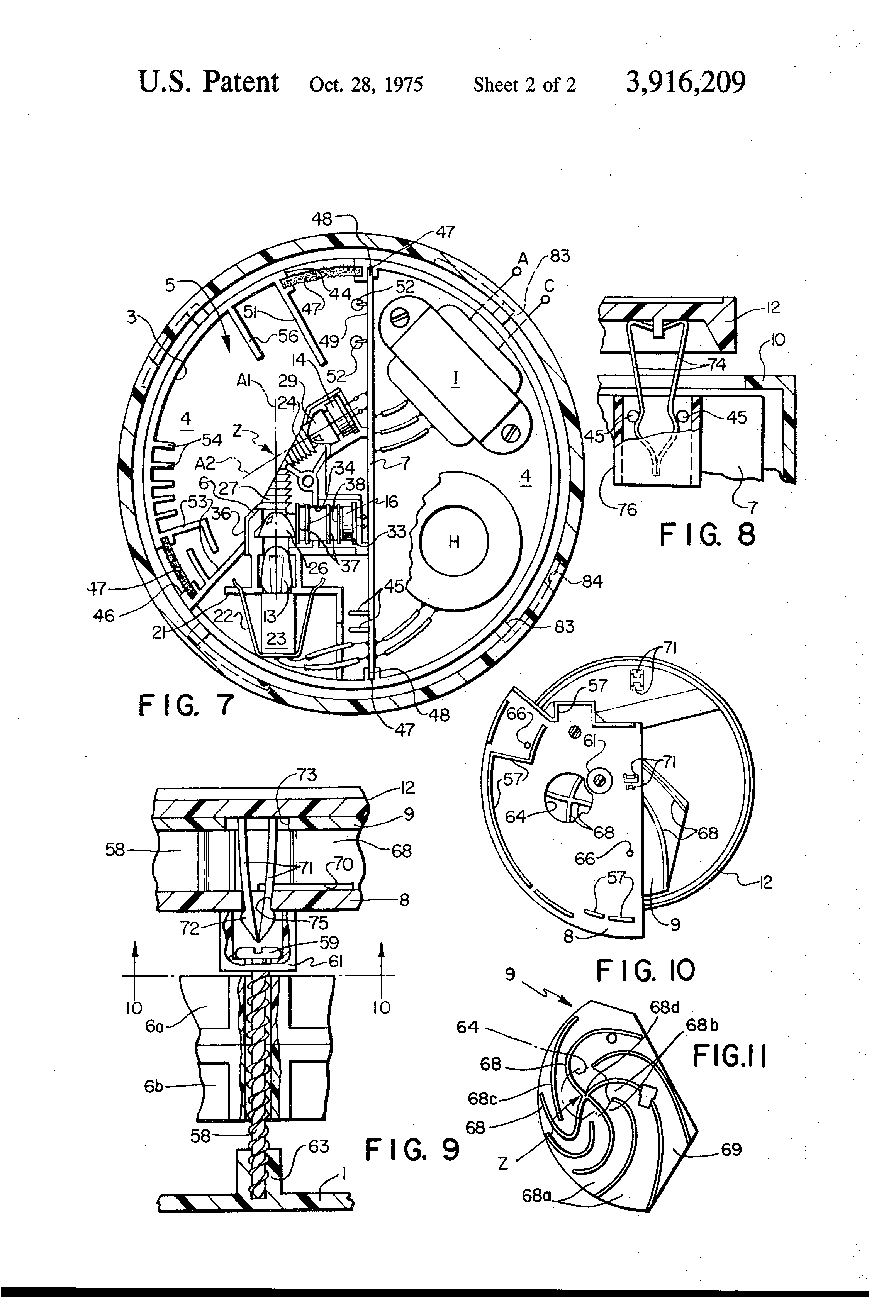 patent us3916209 - vaned baffle for optical smoke detector