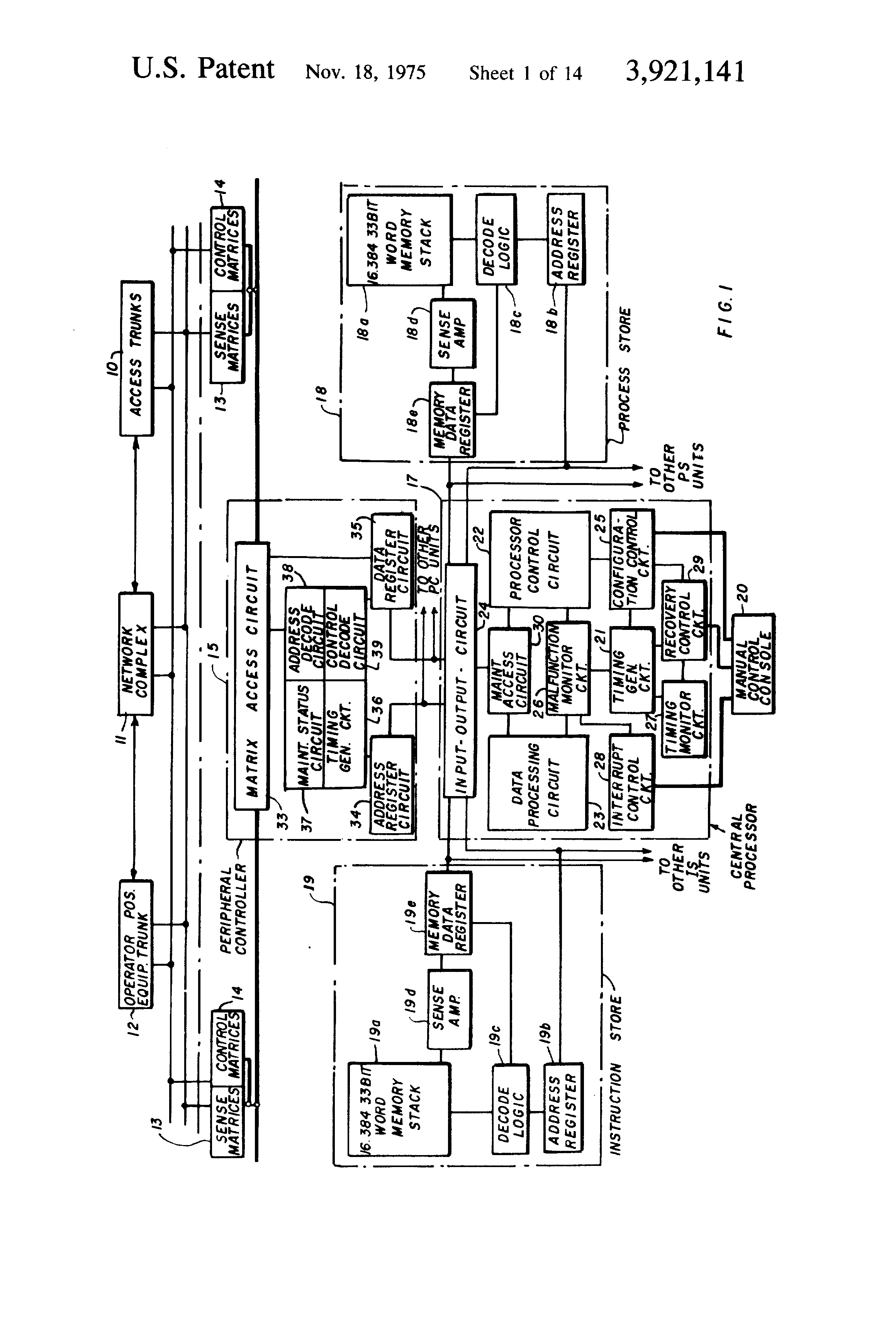 Patent Us3921141 Malfunction Monitor Control Circuitry For Central Processor Circuit Diagram Drawing