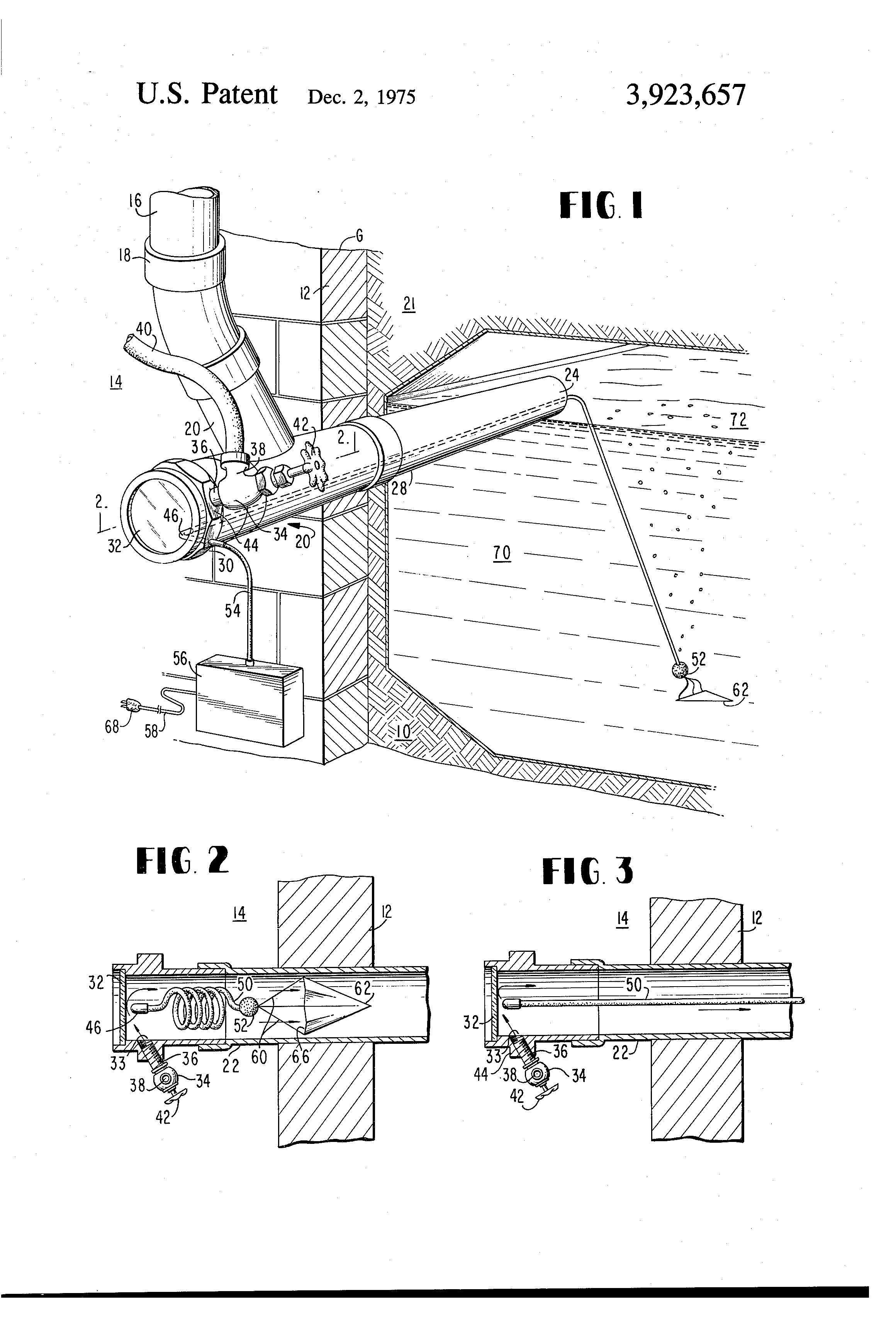 Patent Us3923657 Combined Septic Tank Inlet Pipe Sight