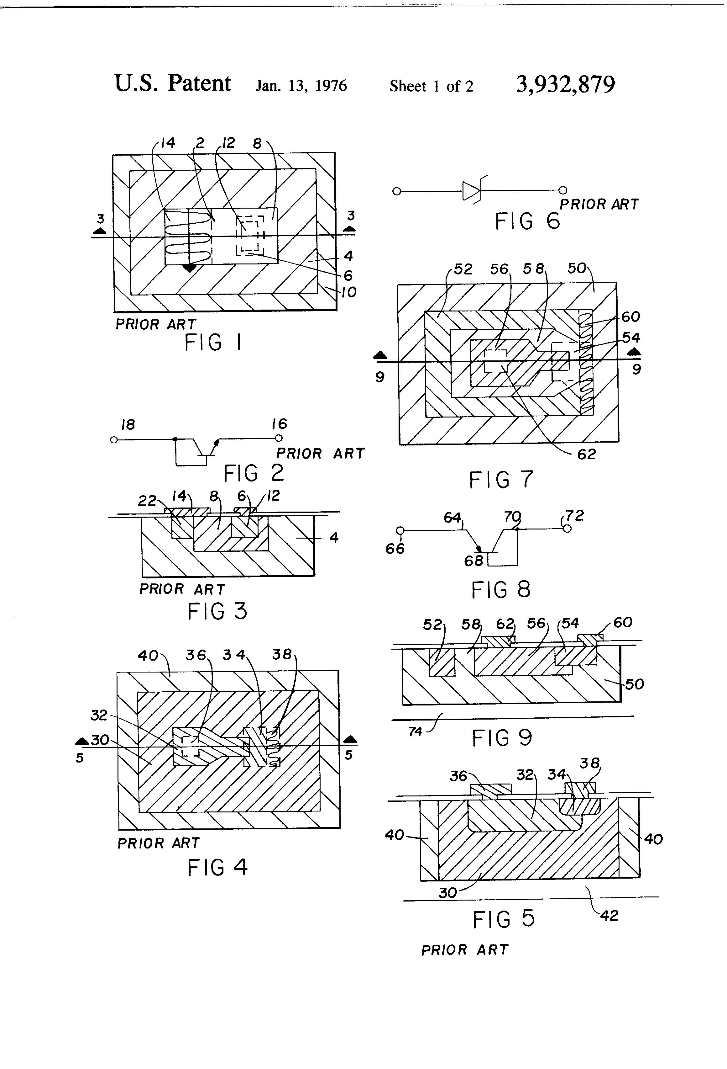 Brevet Us3932879 Bilaterally Conducting Zener Diode And Circuit Diagram Characteristics Patent Drawing