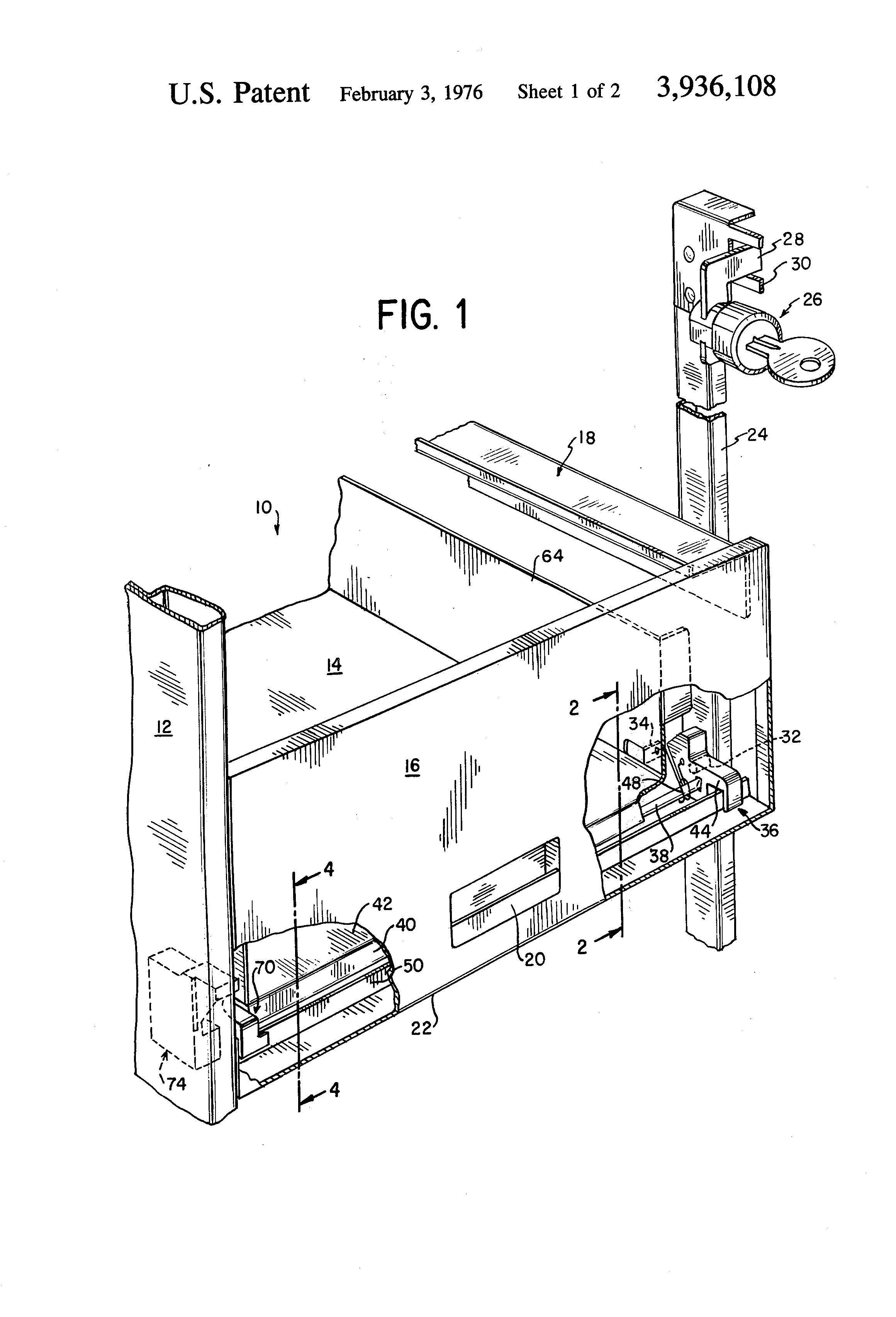 Patent Us3936108 File Cabinet Drawer Locking Mechanism