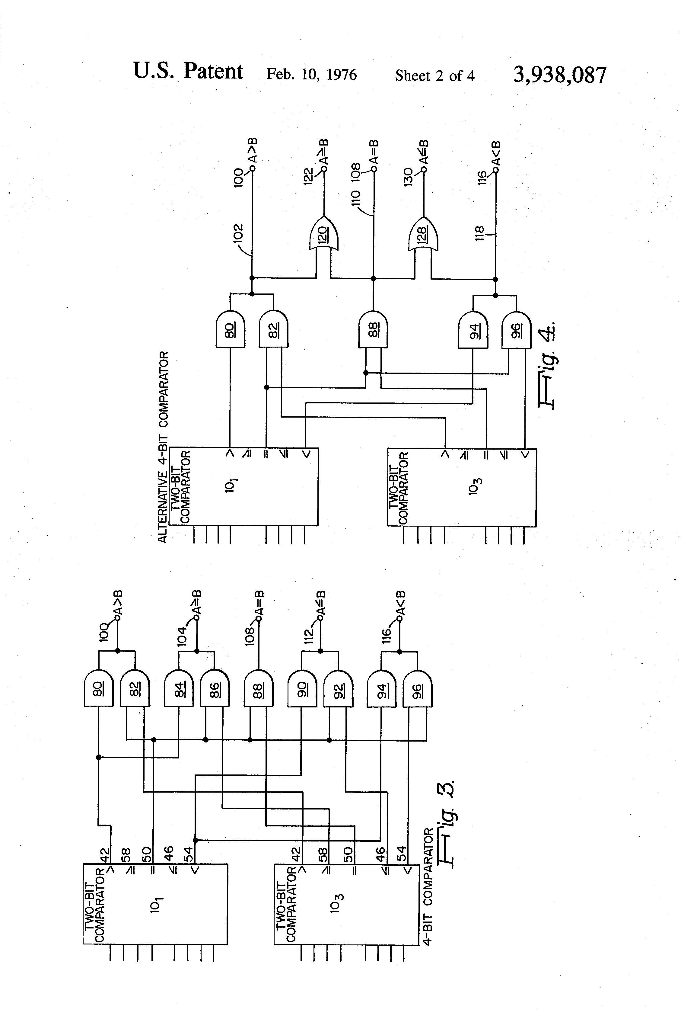 patent us3938087 - high speed binary comparator
