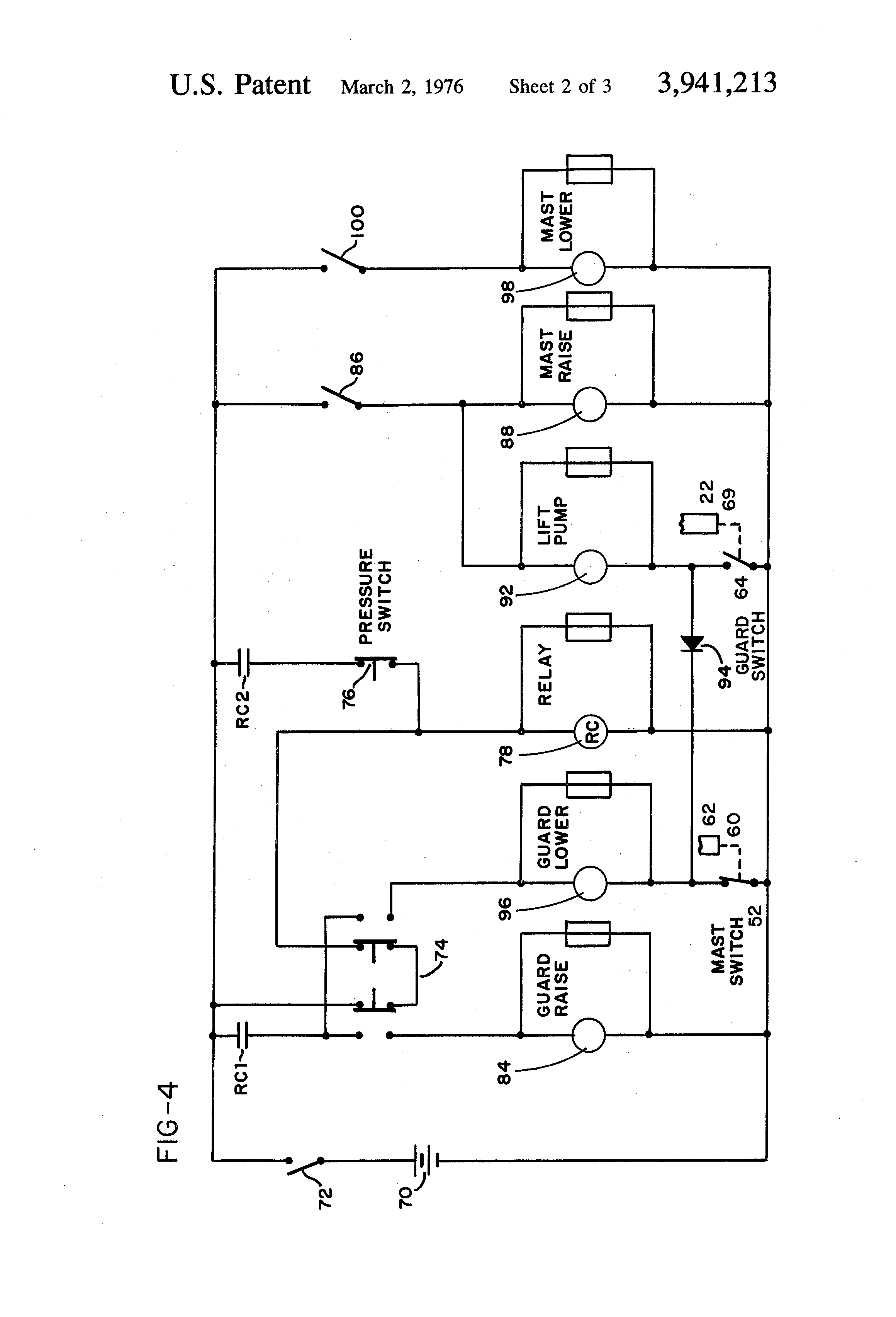 patent us fork lift limit switch controlled patent drawing