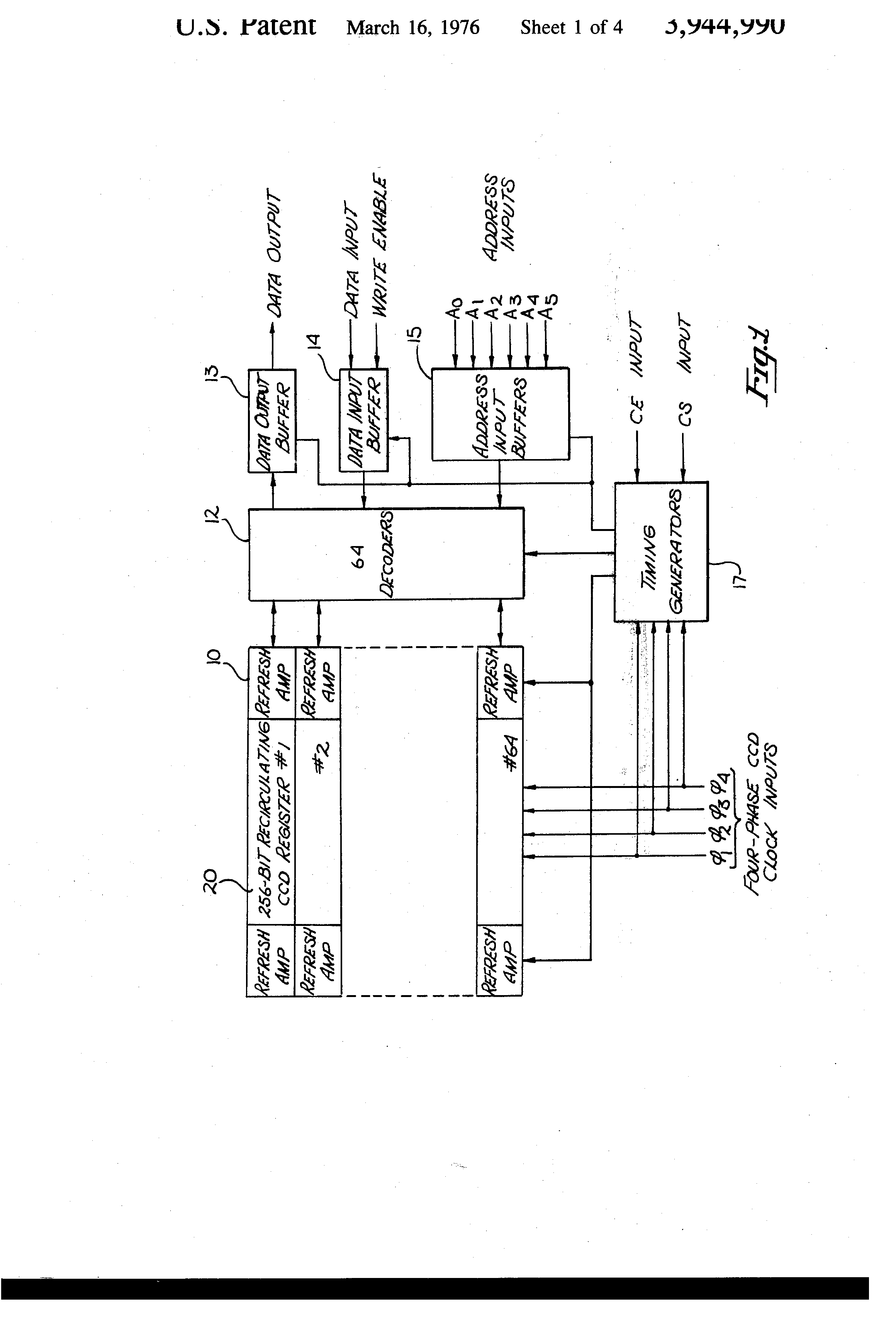 Patent Us3944990 Semiconductor Memory Employing Charge Coupled Circuit Diagram With Decoder And Shift Register Drawing