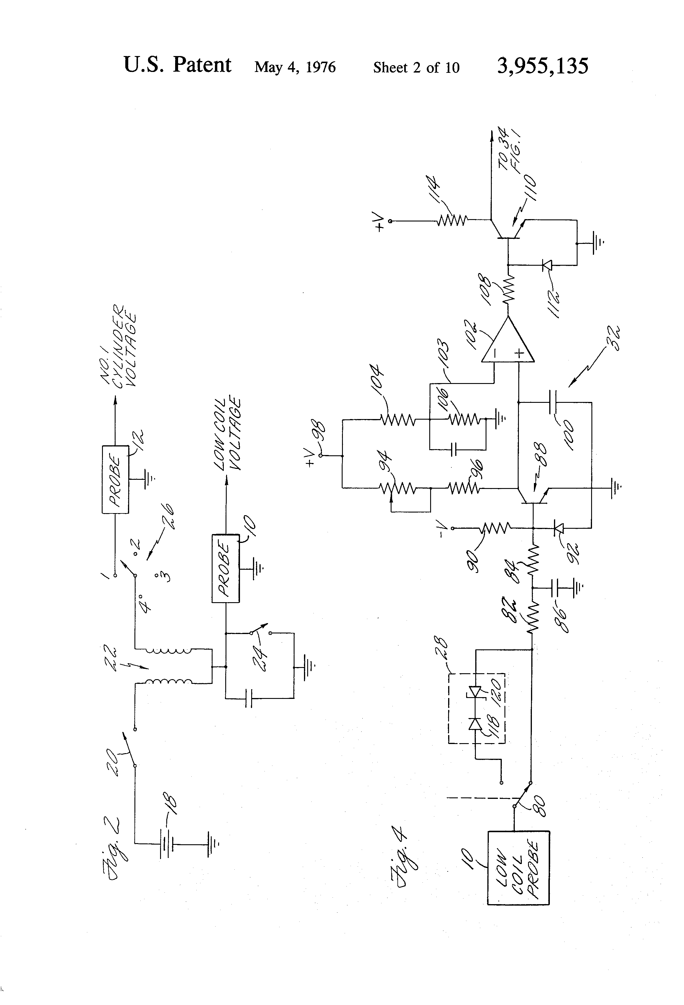 patent us3955135 - vehicle rpm and dwell measurement system