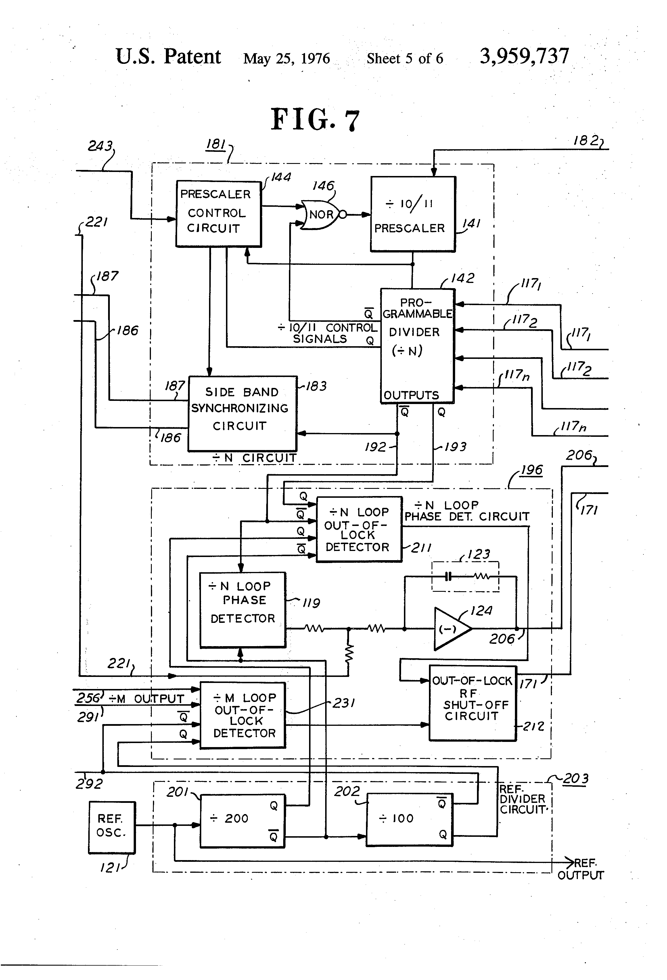 Patent Us3959737 Frequency Synthesizer Having Fractional 2 Mhz Standard With Dividers Drawing