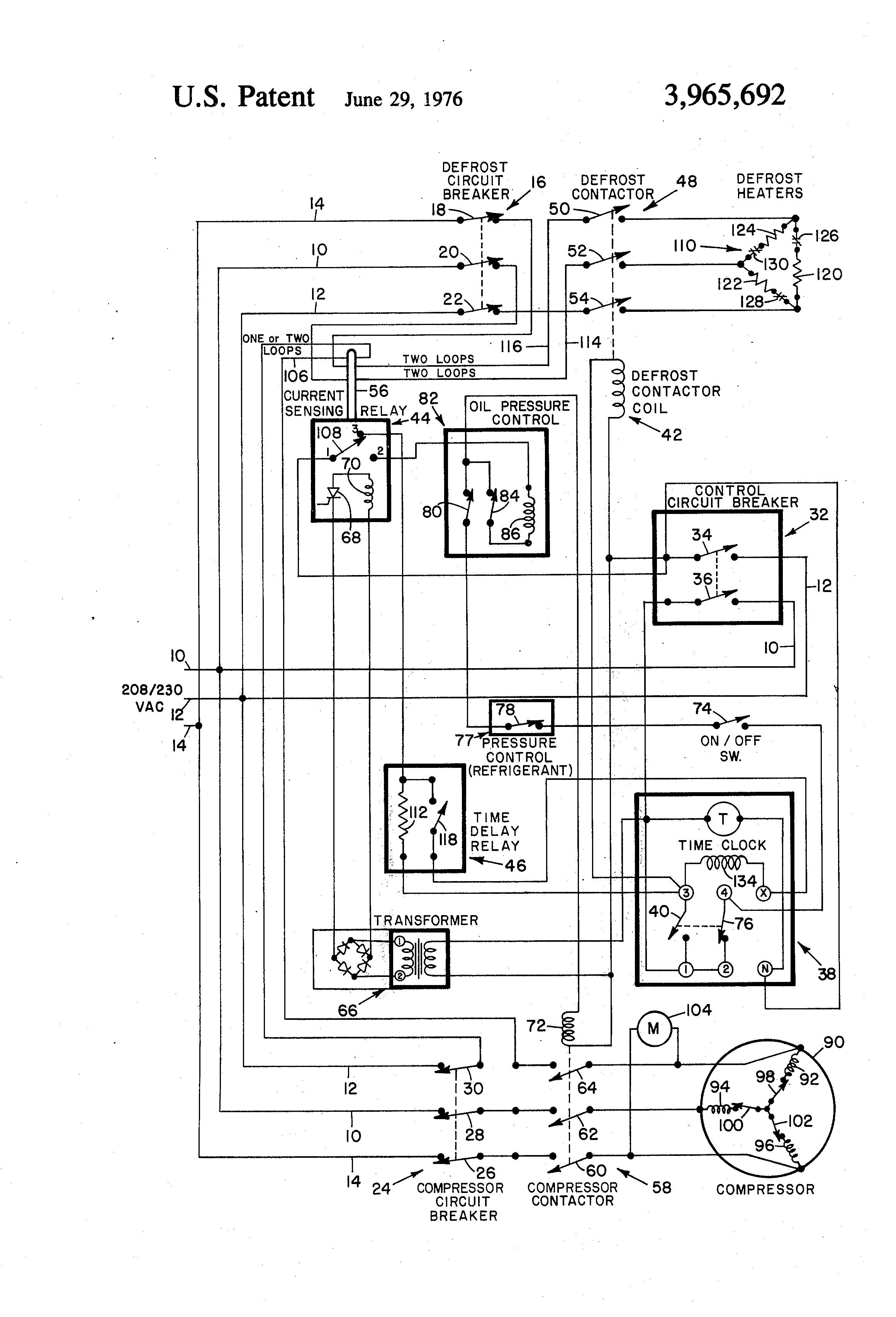 US3965692 1 patent us3965692 refrigeration control circuit google patents defrost termination thermostat wiring diagram at panicattacktreatment.co