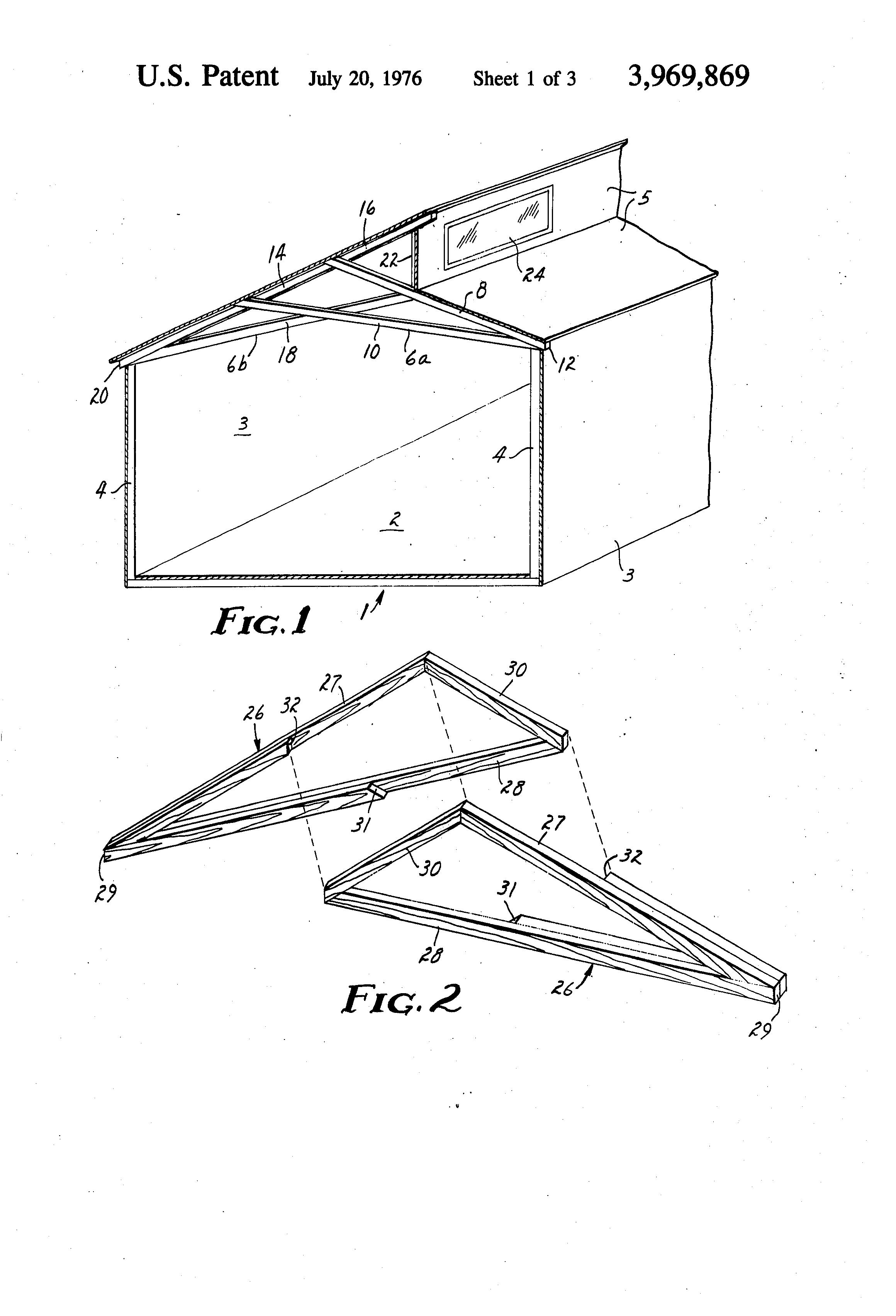 Patent us3969869 building truss google patenten for Clerestory roof truss design