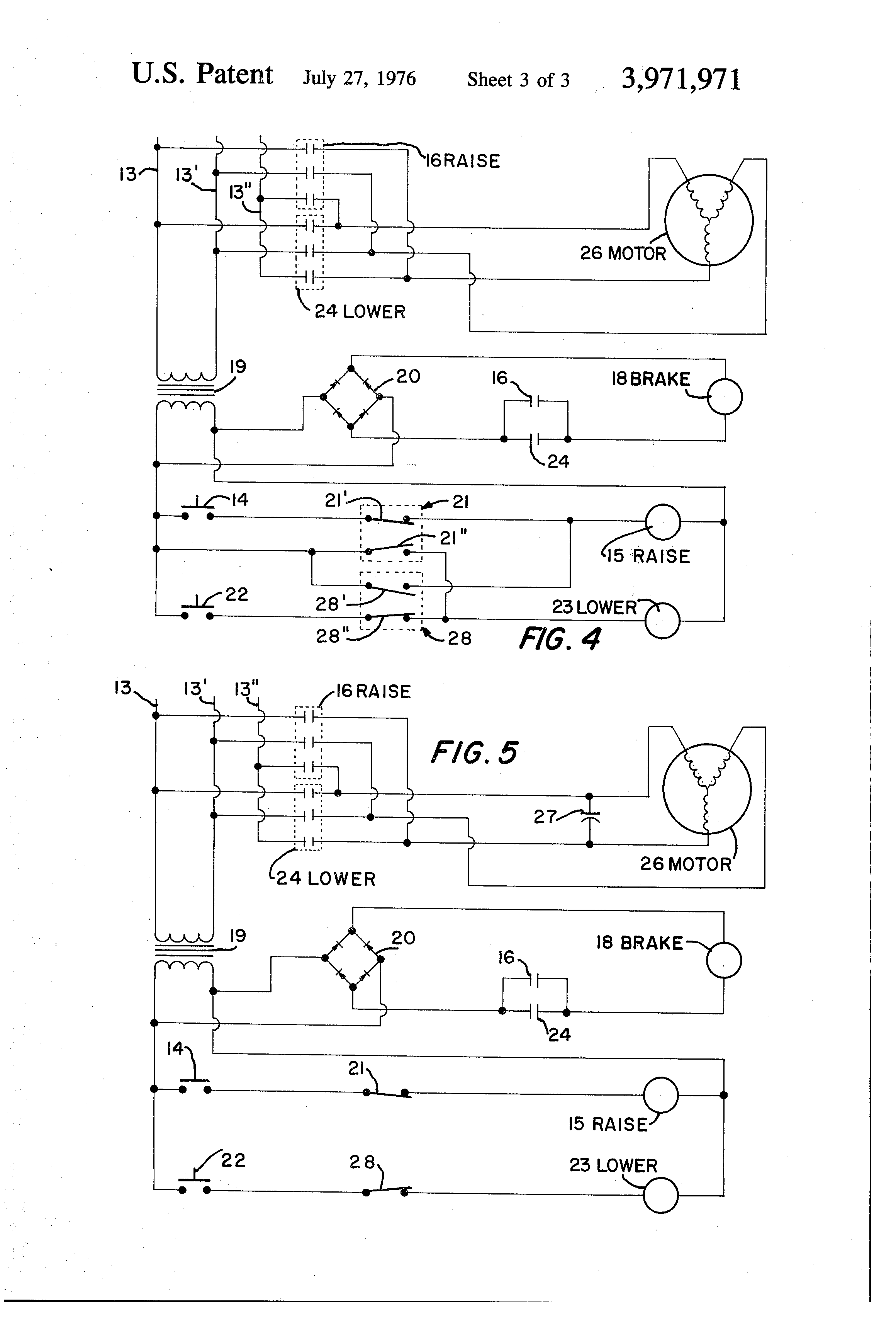 patent us3971971 electric hoist control and braking system patent drawing