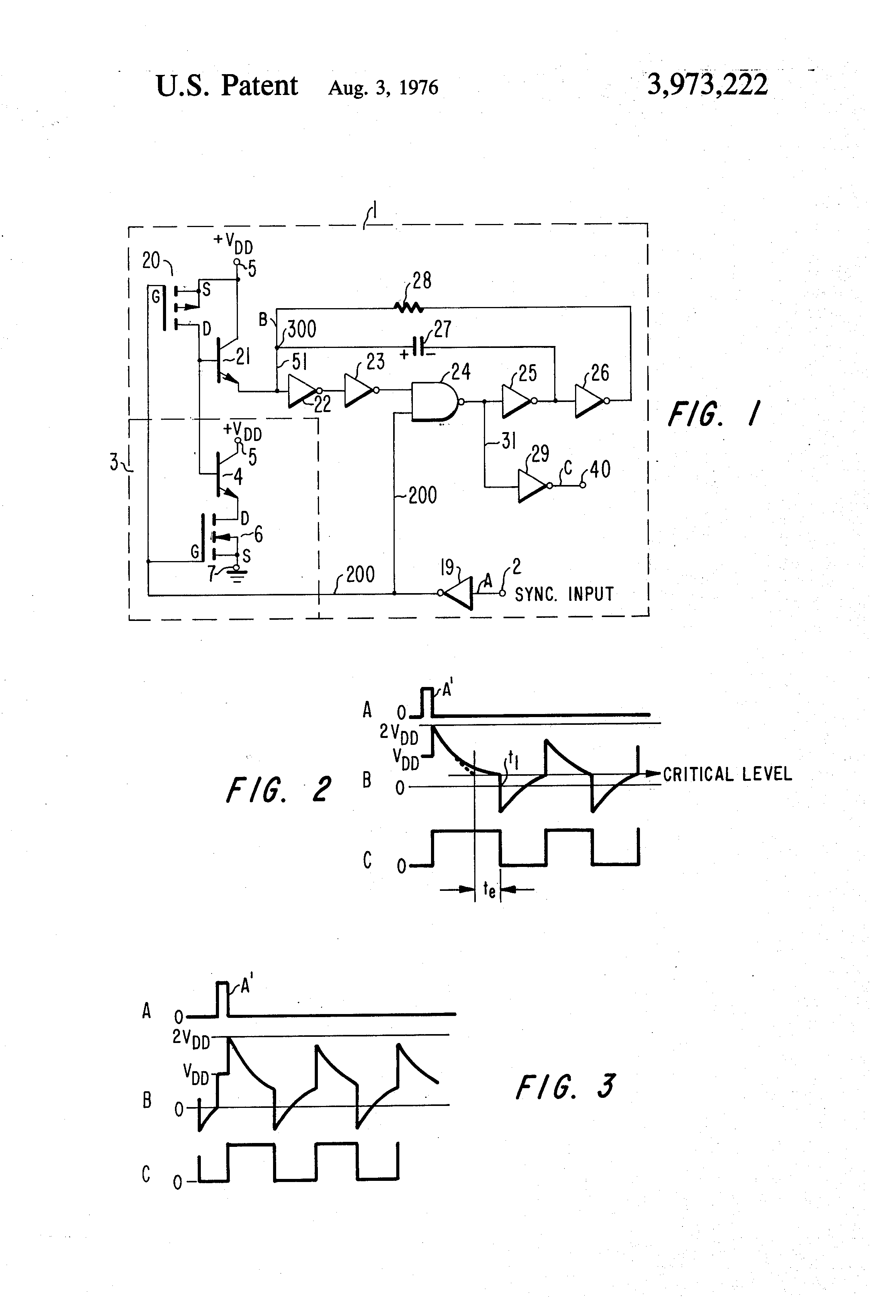 Brevet Us3973222 Astable Multivibrator Circuit Google Brevets The Diagram Of An Using Operational Patent Drawing