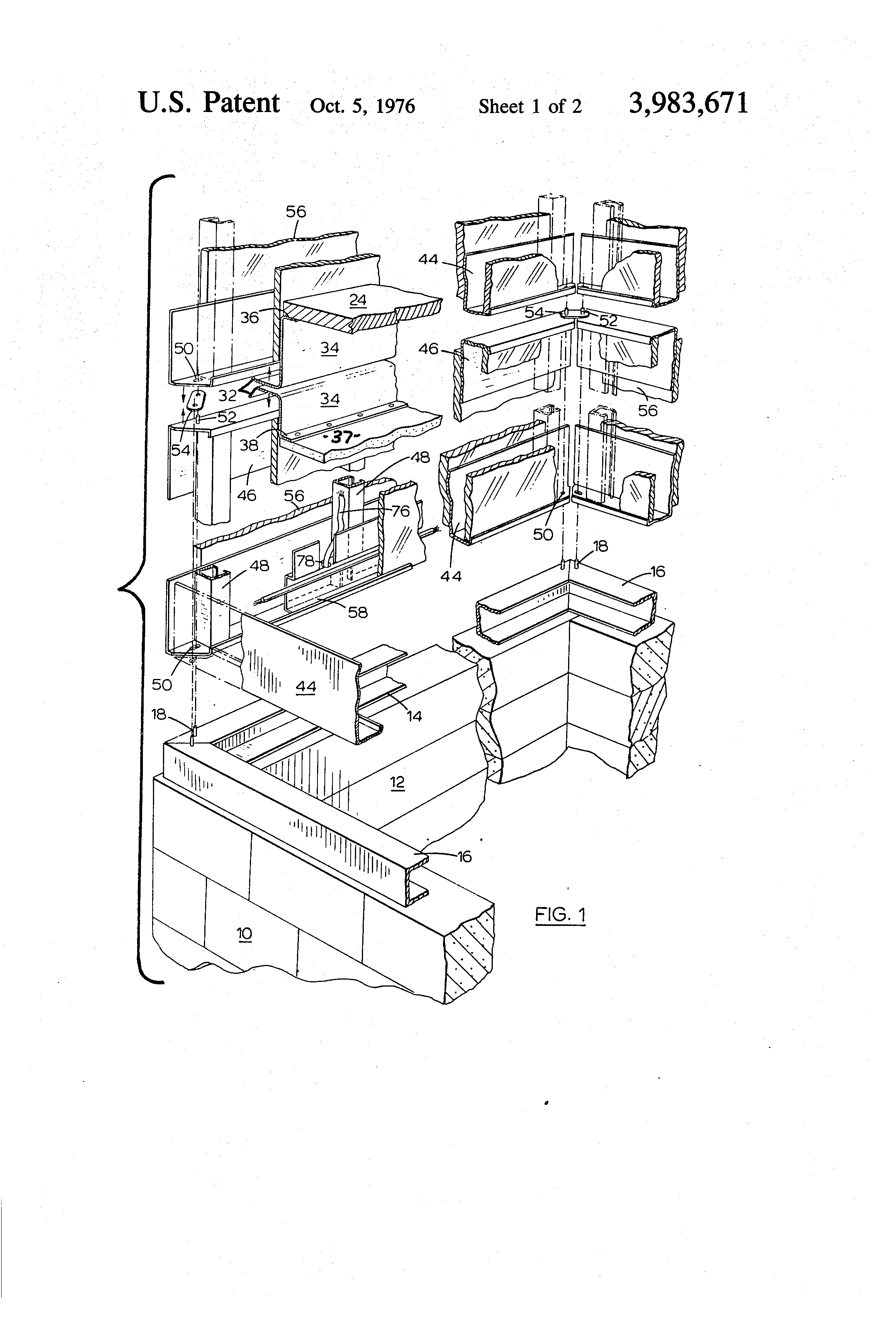 Patent Us3983671 Prefabricated Structures For Use In Electrical Us Wiring Drawing
