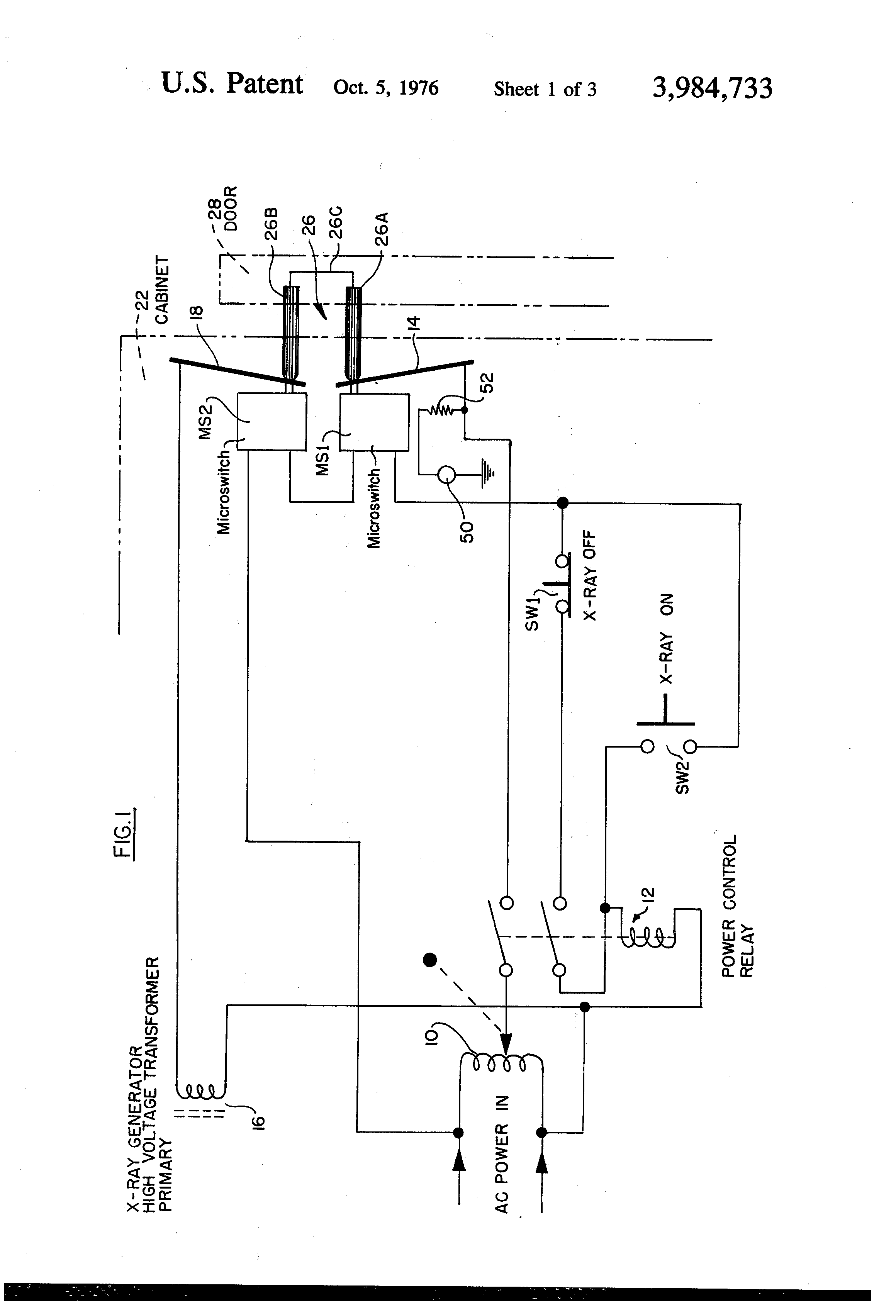US3984733 1 patent us3984733 interlock safety switching circuit for x ray safety interlock wiring diagram at gsmx.co