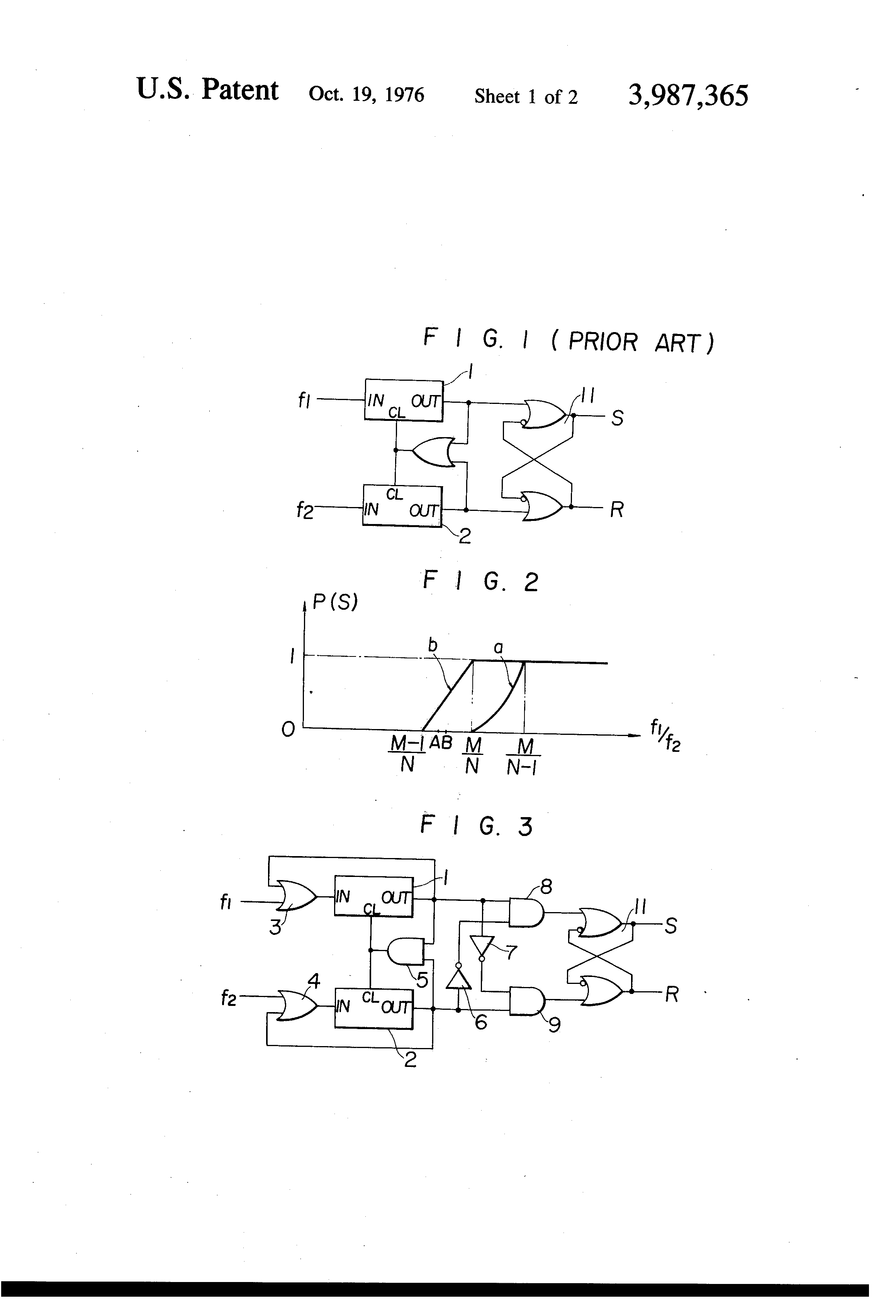 Patent Us3987365 Digital Frequency Comparator Circuit Google Patents Simple Drawing