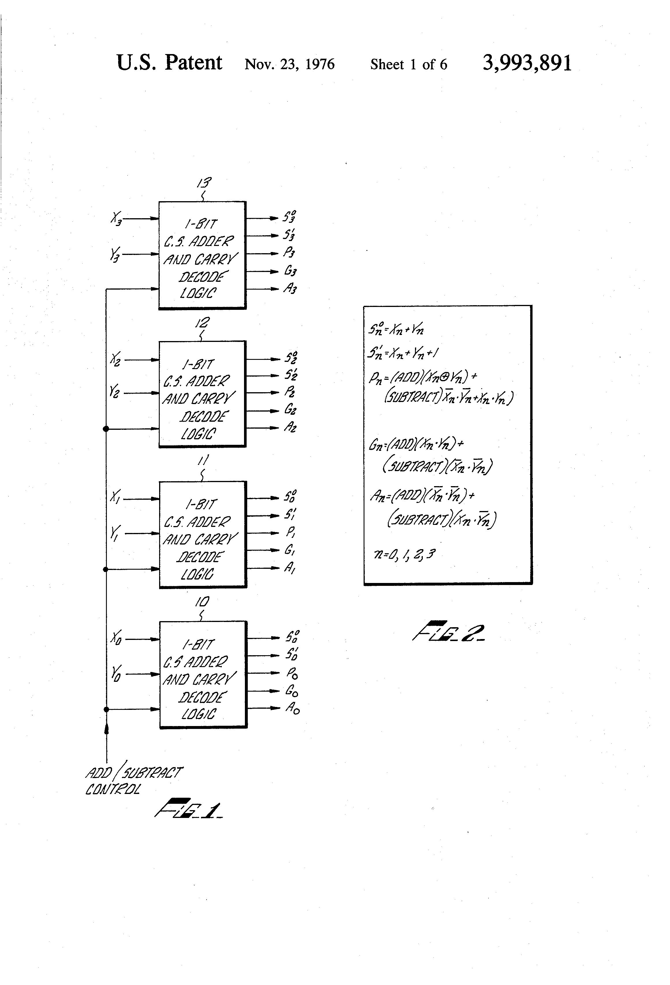 Patent Us3993891 High Speed Parallel Digital Adder Employing Gate Full Logic Diagram Additionally 1 Bit Circuit Drawing