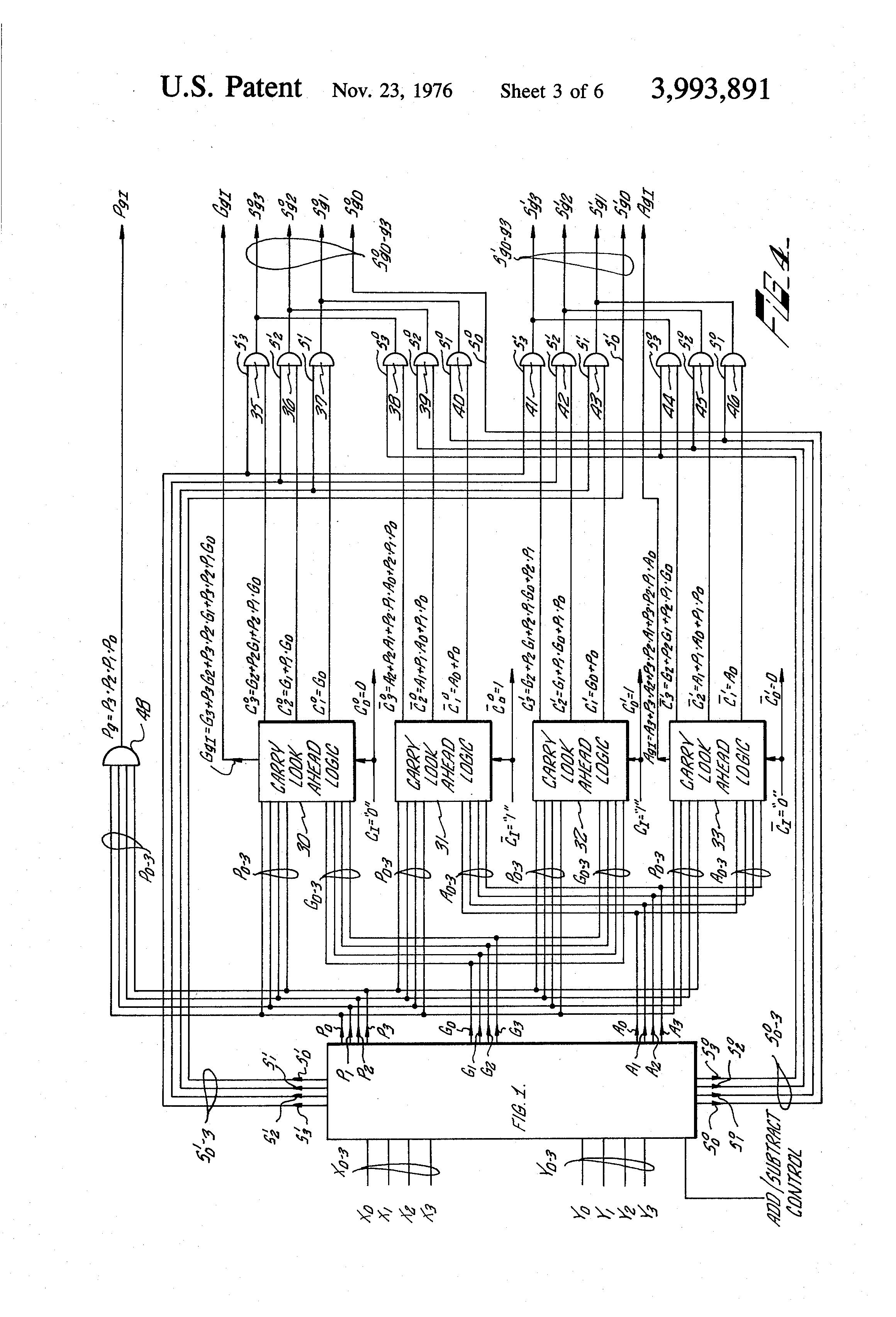 Patent Us3993891 High Speed Parallel Digital Adder Employing Gate Full Logic Diagram Additionally 1 Bit Circuit Drawing