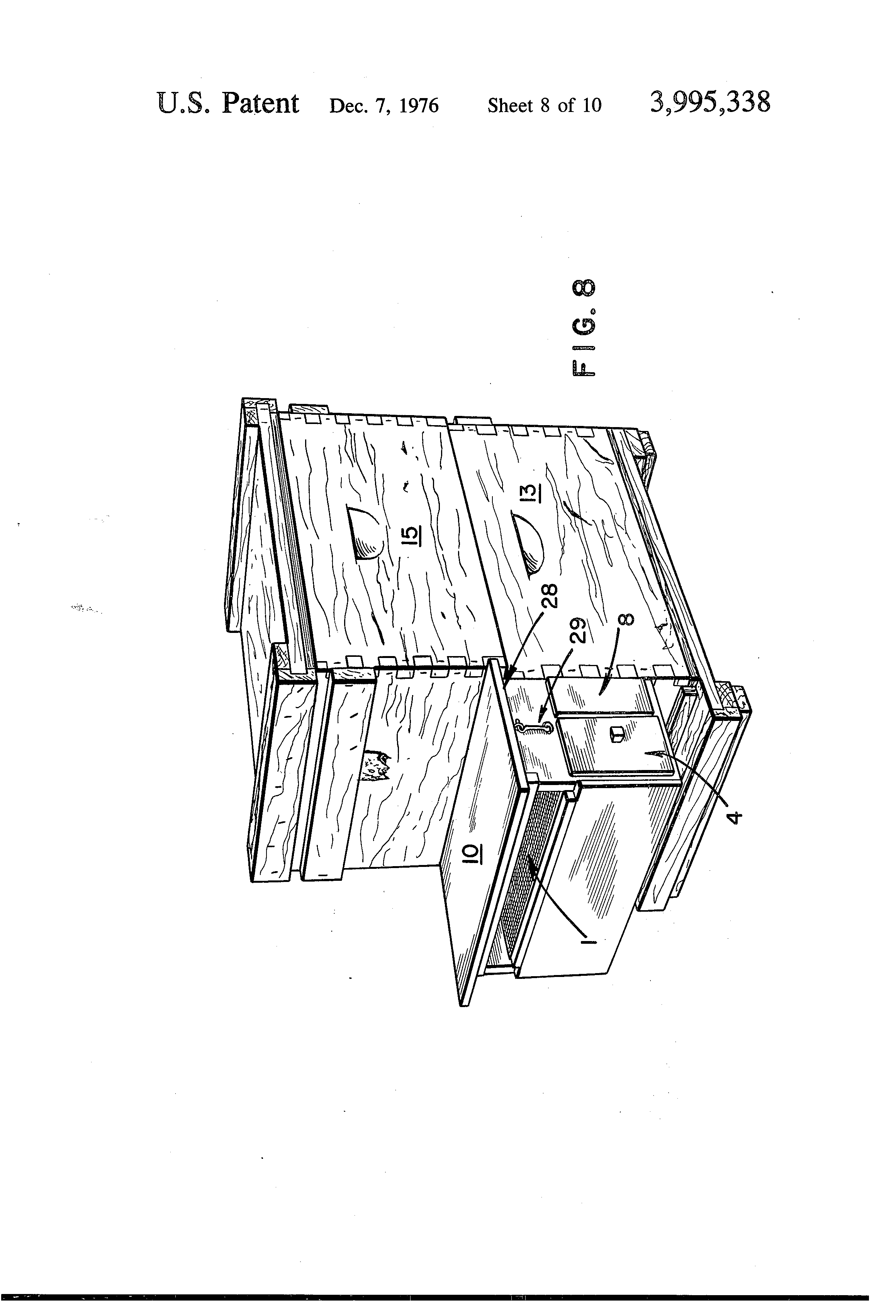 patent us3995338 - pollen trap with cleaning grid