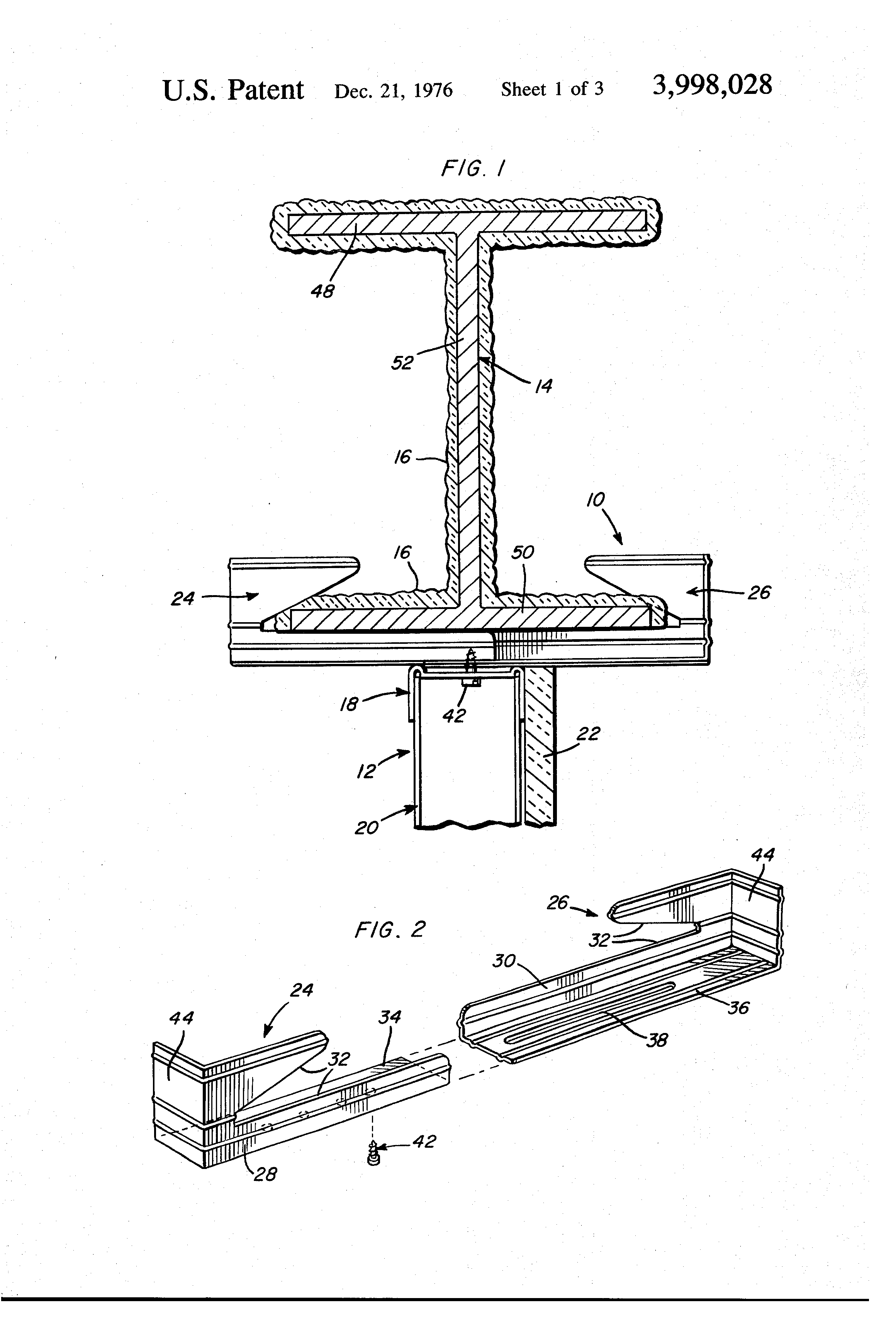Patent Us3998028 Furring And Fireproofing Protection
