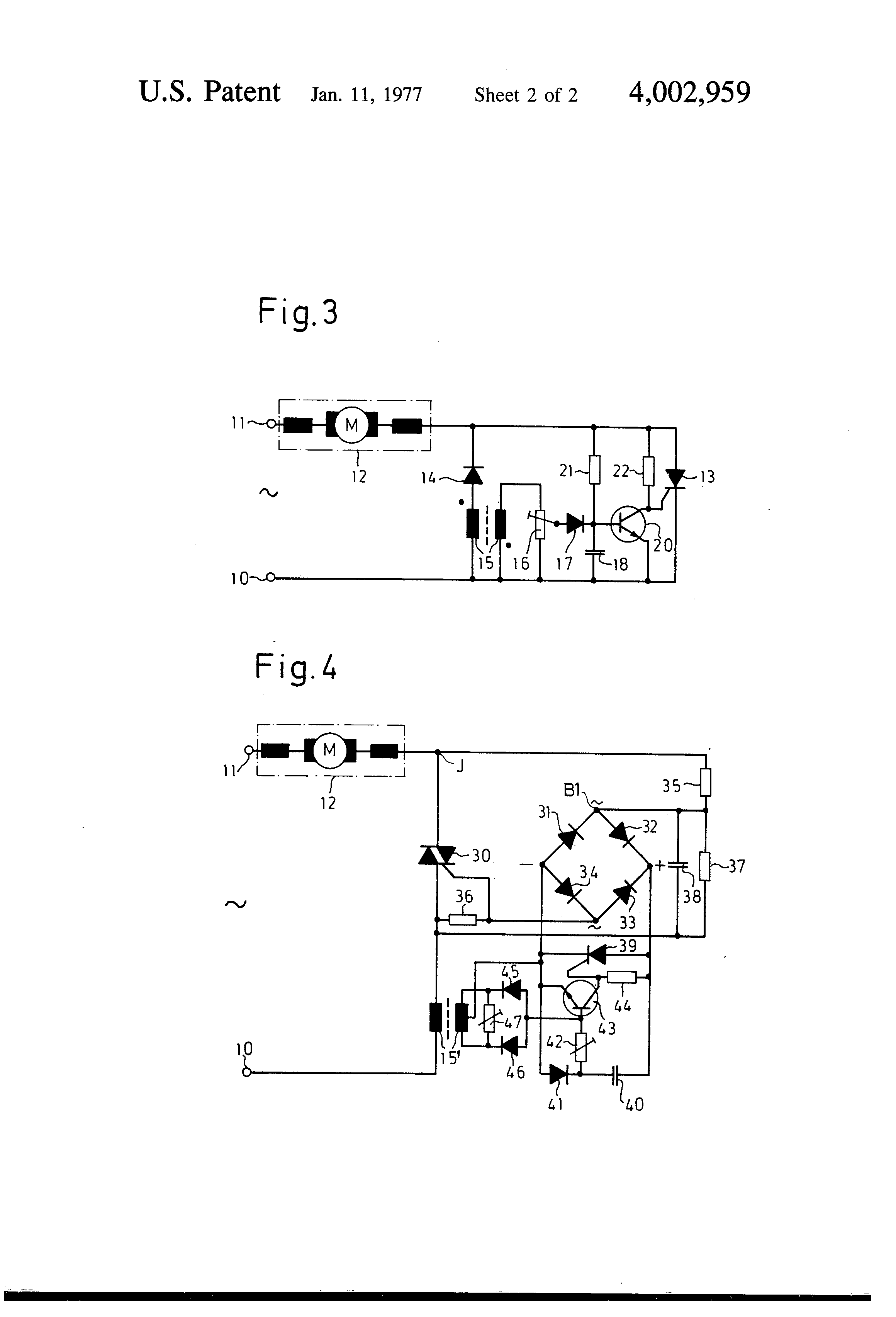 Patent Us4002959 Motor Control System Particularly To Reduce Triac Characteristics Drawing
