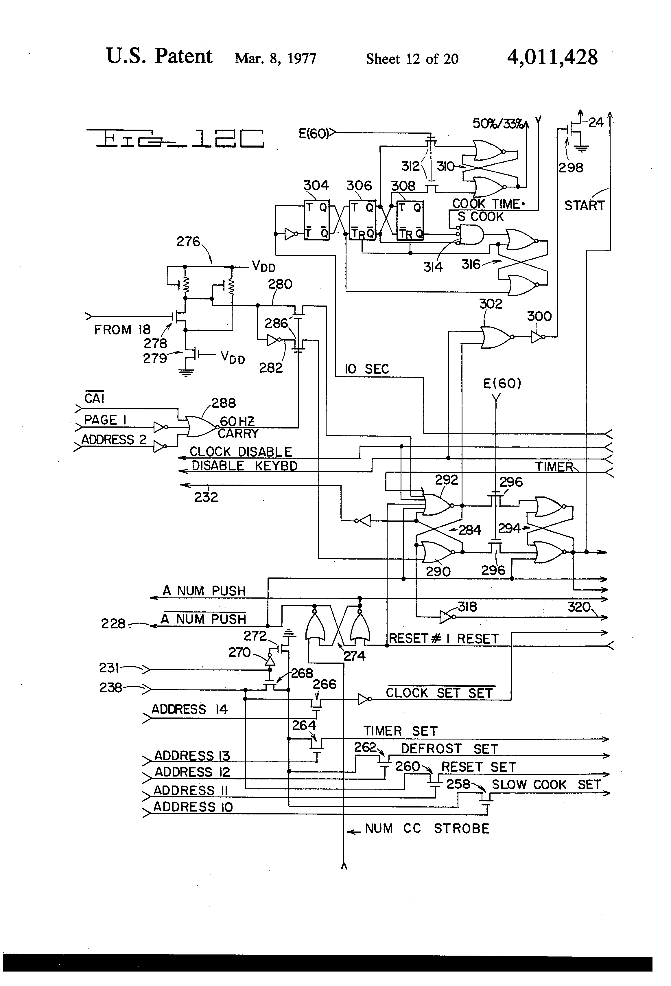 patent us4011428 microwave oven timer and control circuit patent drawing