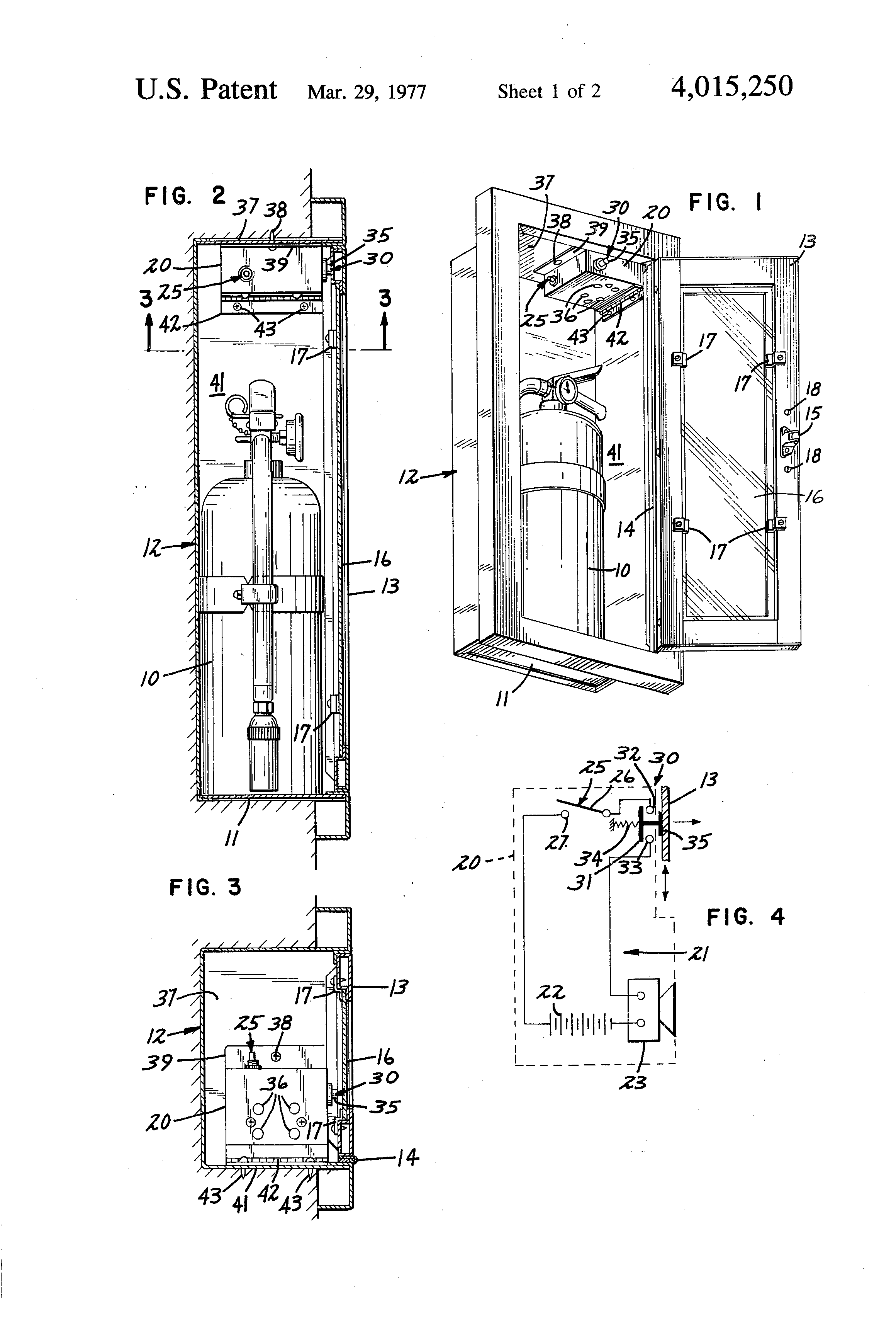 Patent Us4015250 Alarm For Removal Of A Fire