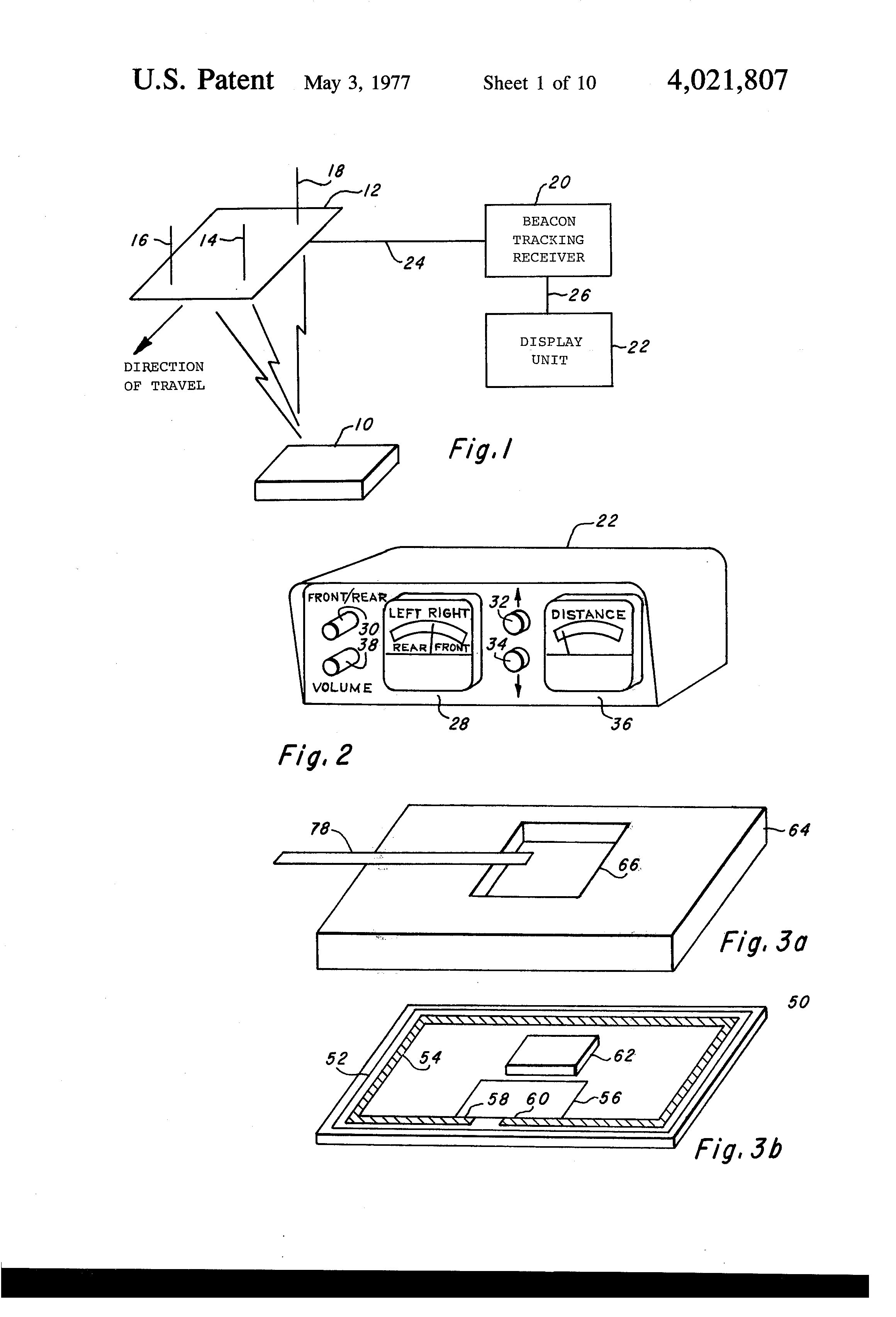 patent us4021807 beacon tracking system google patents