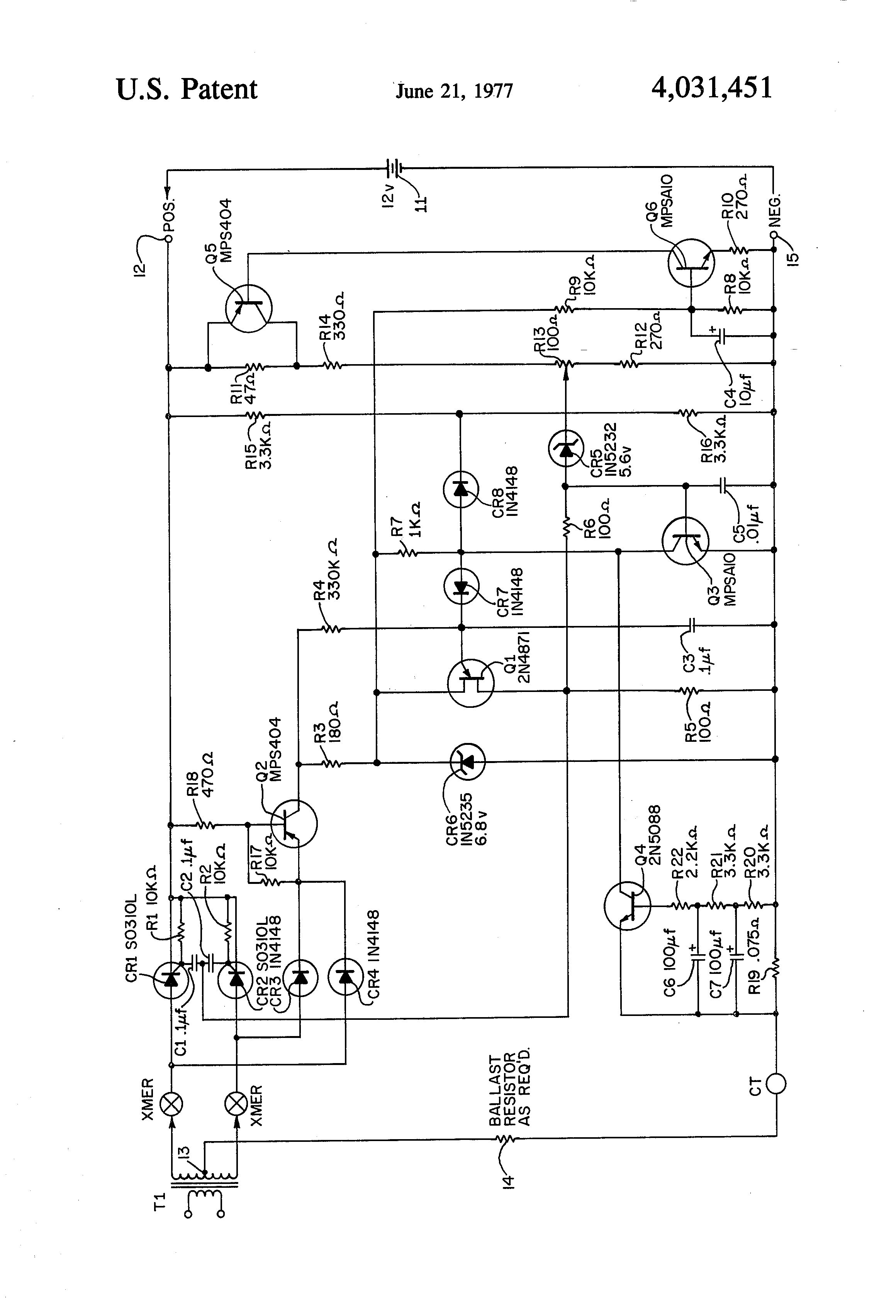 Brevet Us4031451 Charging Circuit With Scrs Triggered By Pedestal Four Components A Silicon Controlled Rectifier Or Scr Zener Diode Patent Drawing