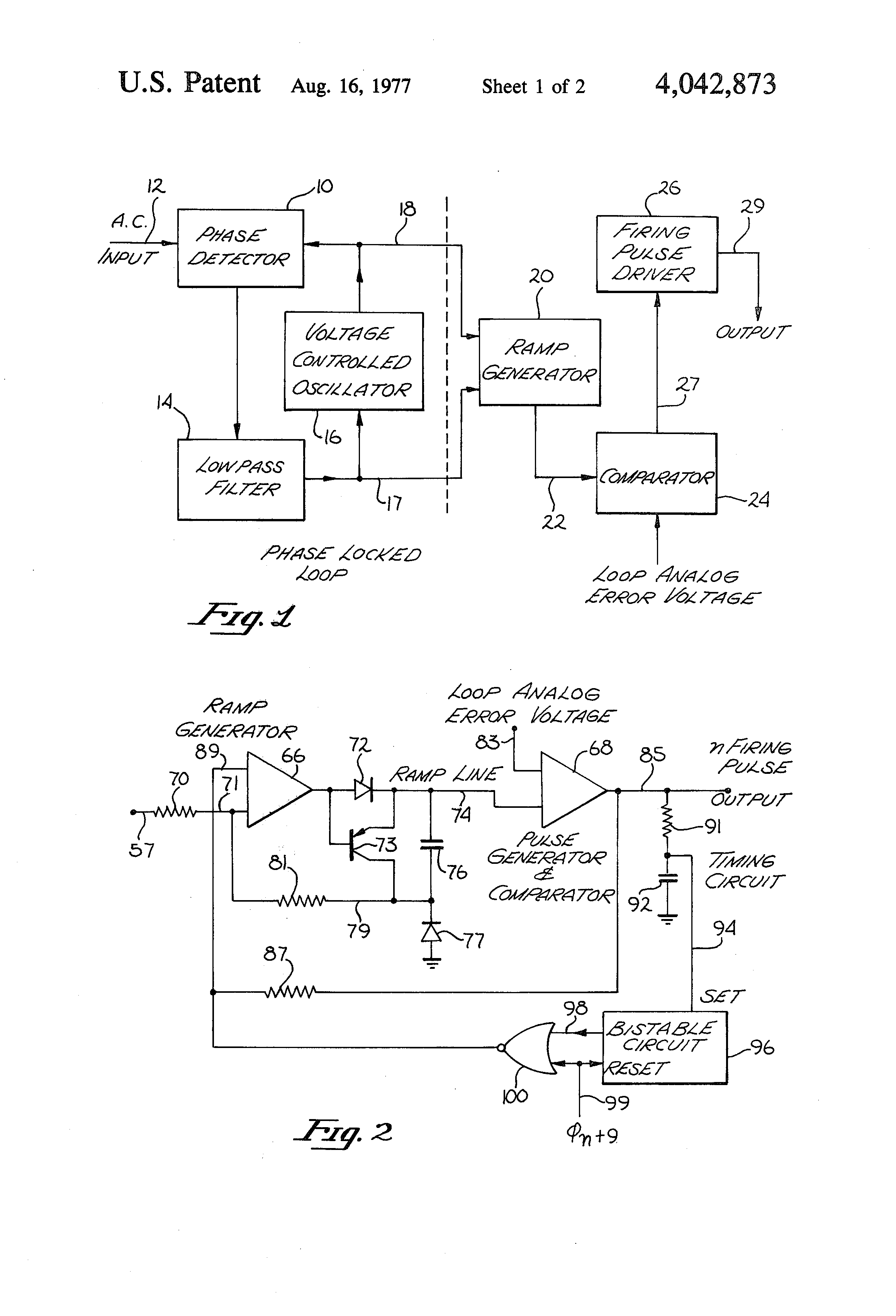 Patent Us4042873 Phase Locked Firing Circuit For Scrs Or The Like Scr Triggering Drawing