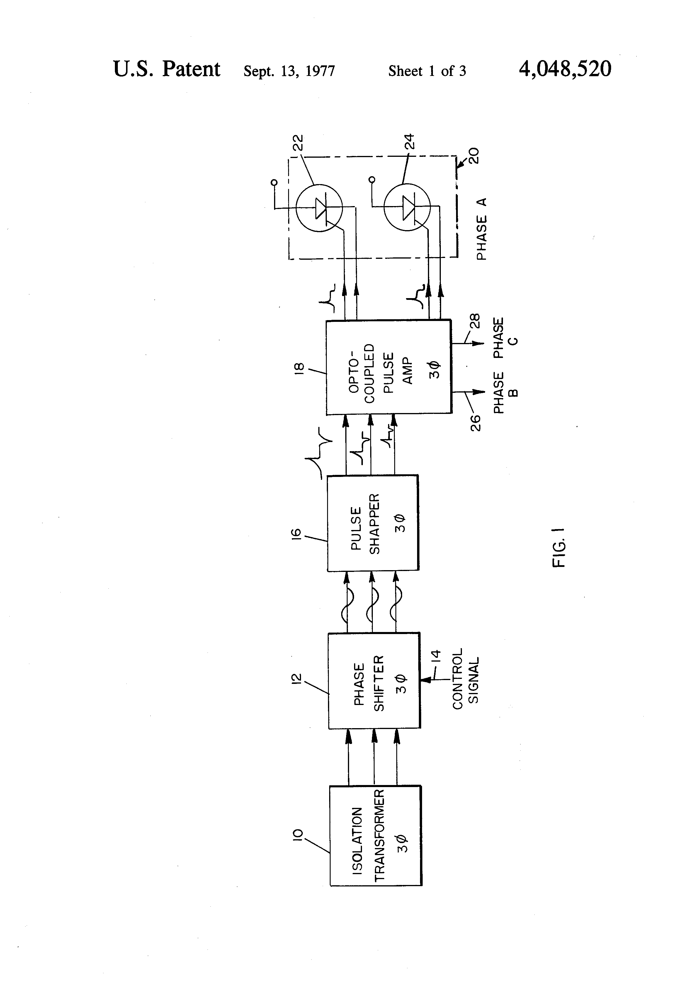 patent us4048520 - three-phase scr drive circuit using an opto-coupled pulse amplifier
