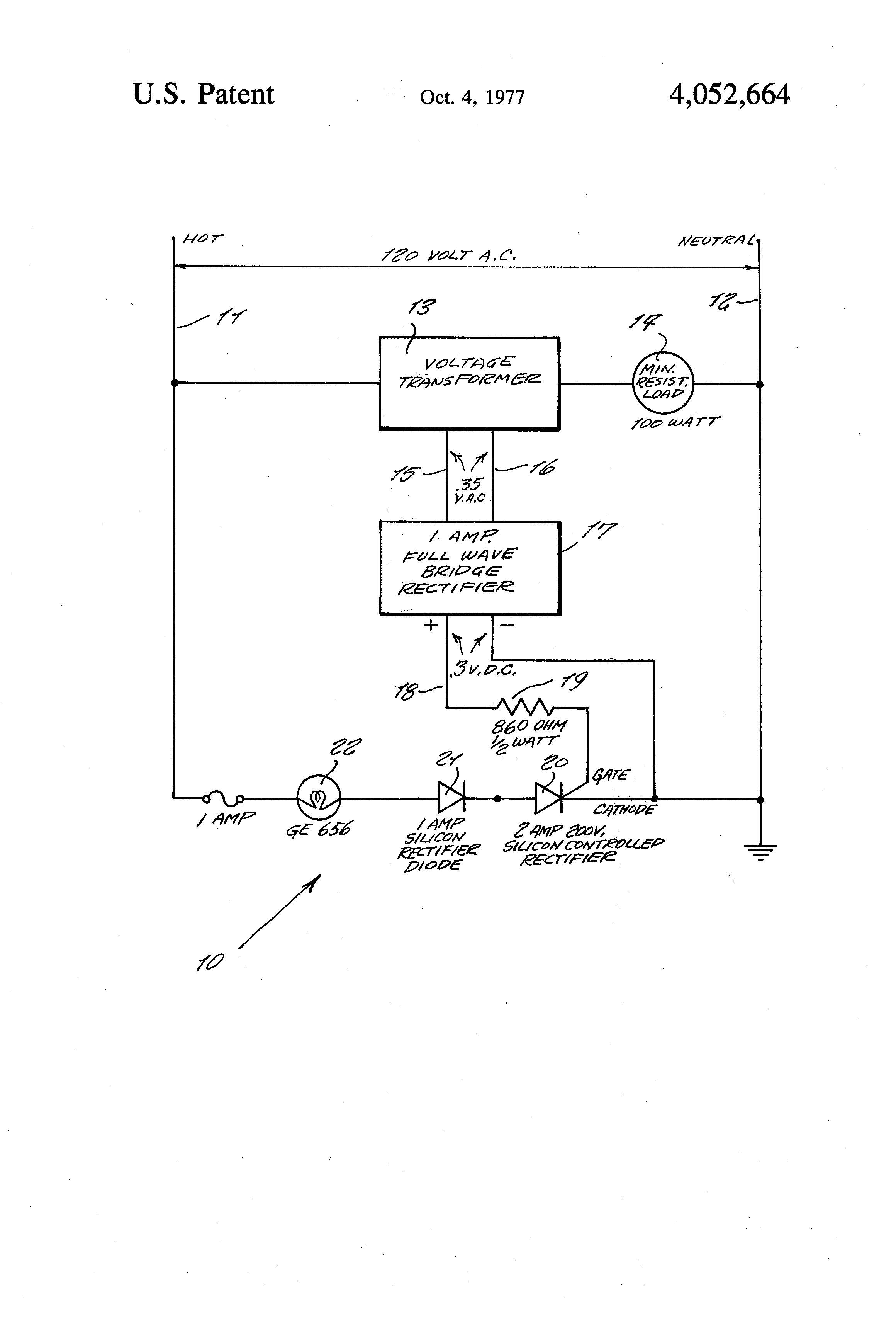 Patent Us4052664 Circuit Monitor To Determine Power On And Of Full Wave Rectifier Drawing