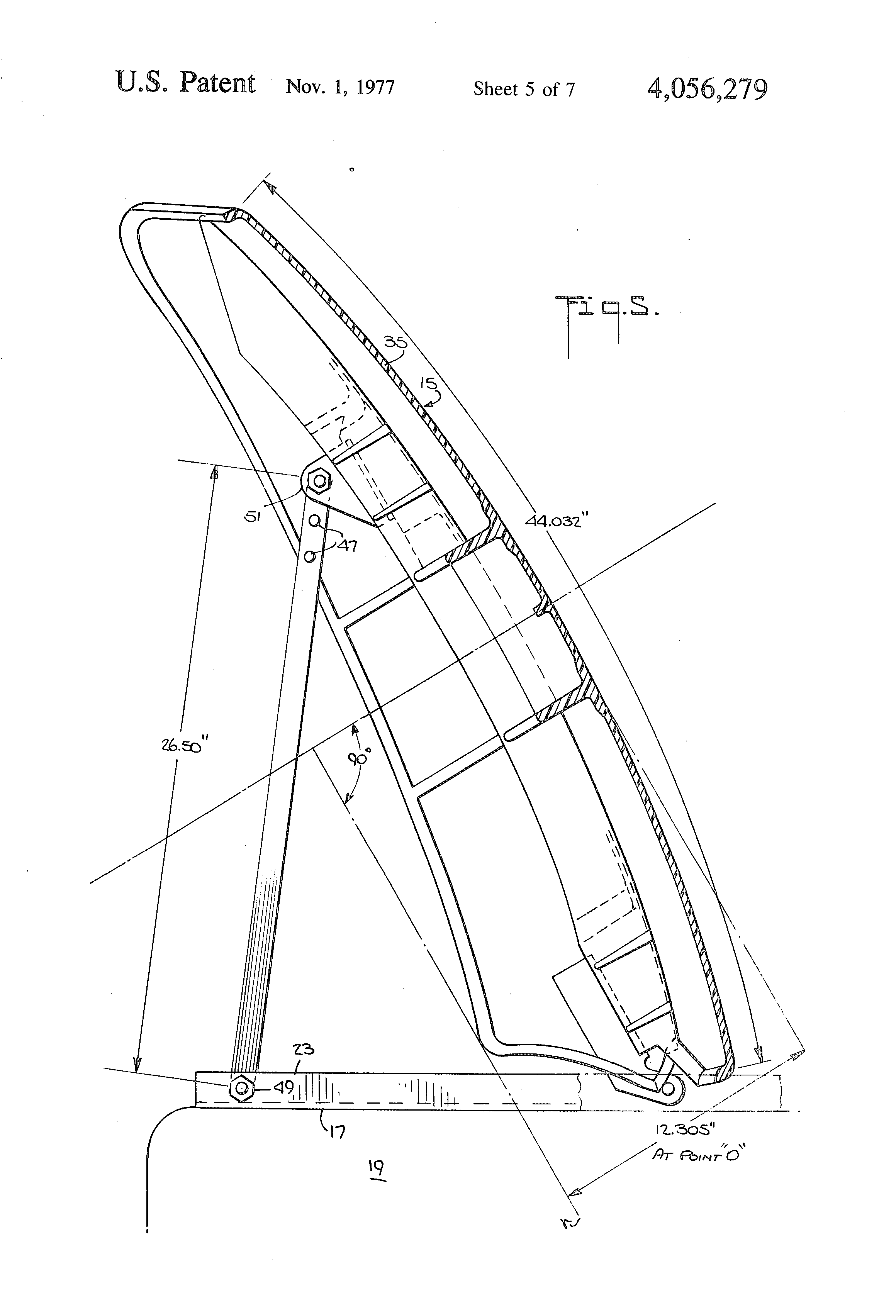 patent us4056279 - air deflector for tractor-trailer vehicle