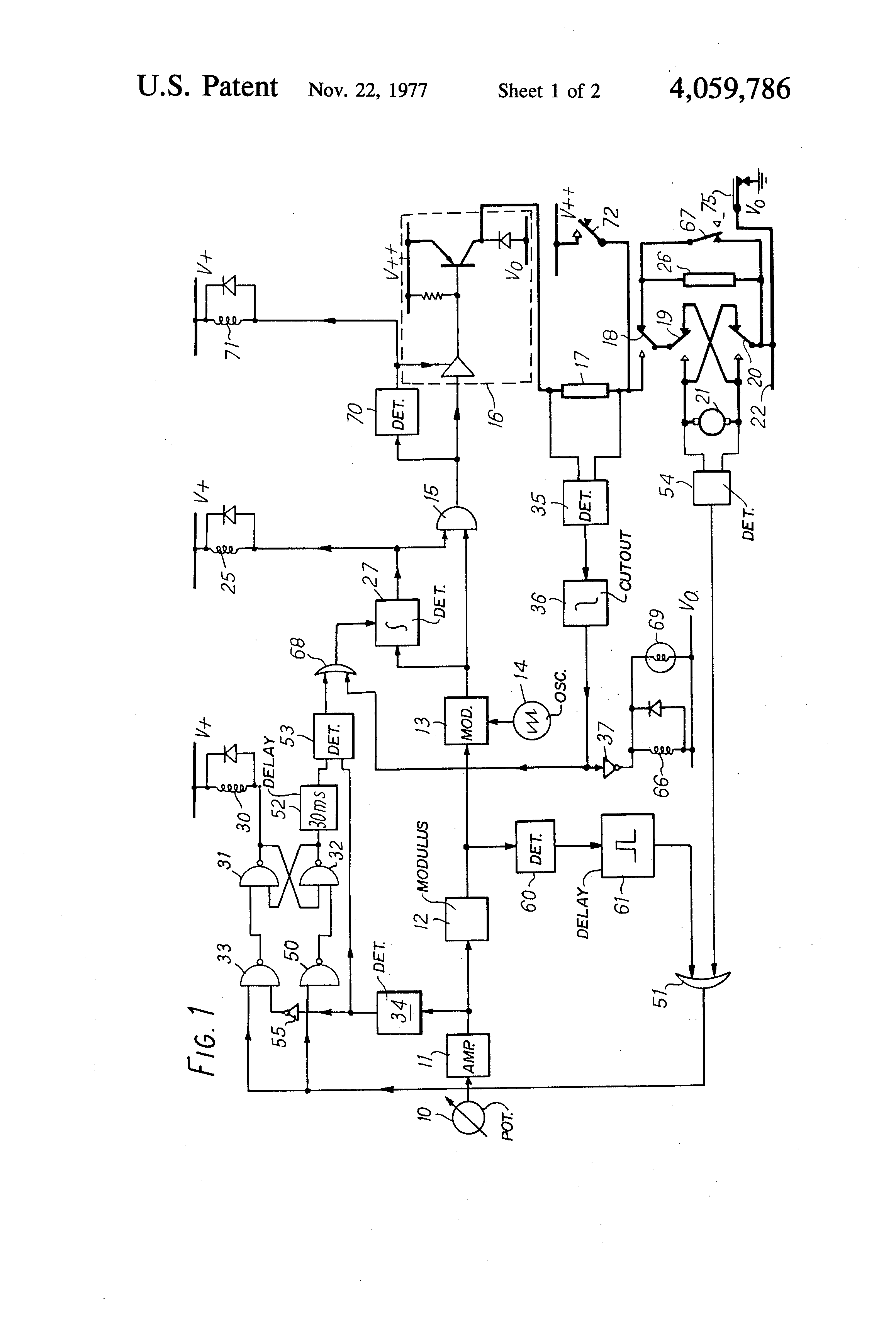 patent us4059786 - wheelchair control circuit